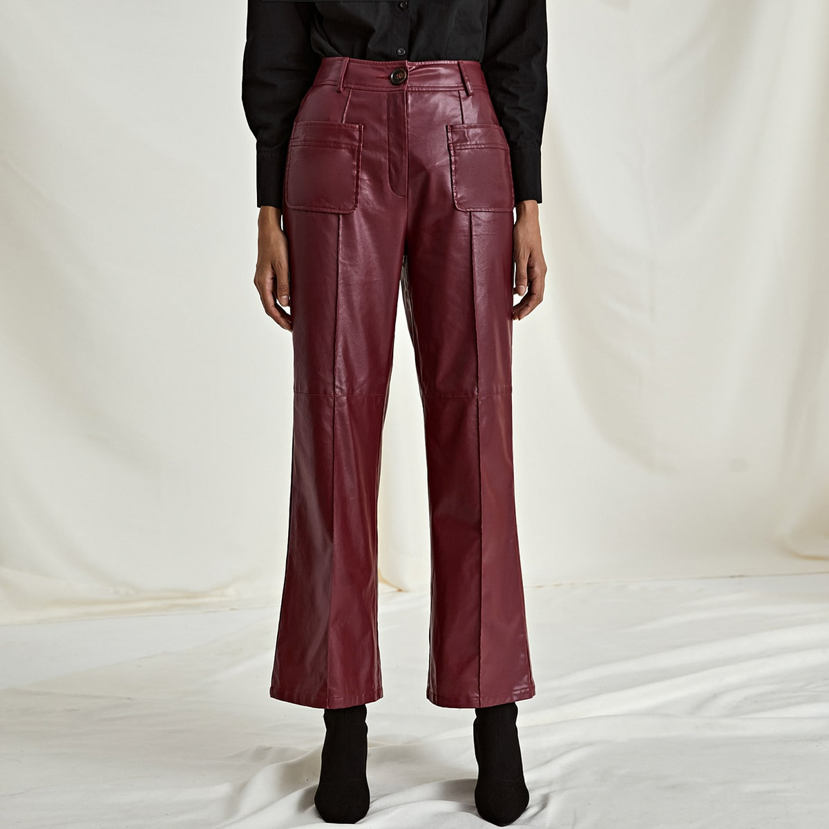 Pocket Front PU Leather Pants