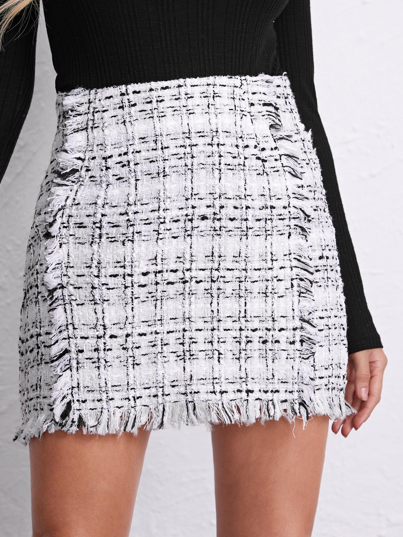 Zipper Side Raw Edge Plaid Tweed Skirt thumbnail
