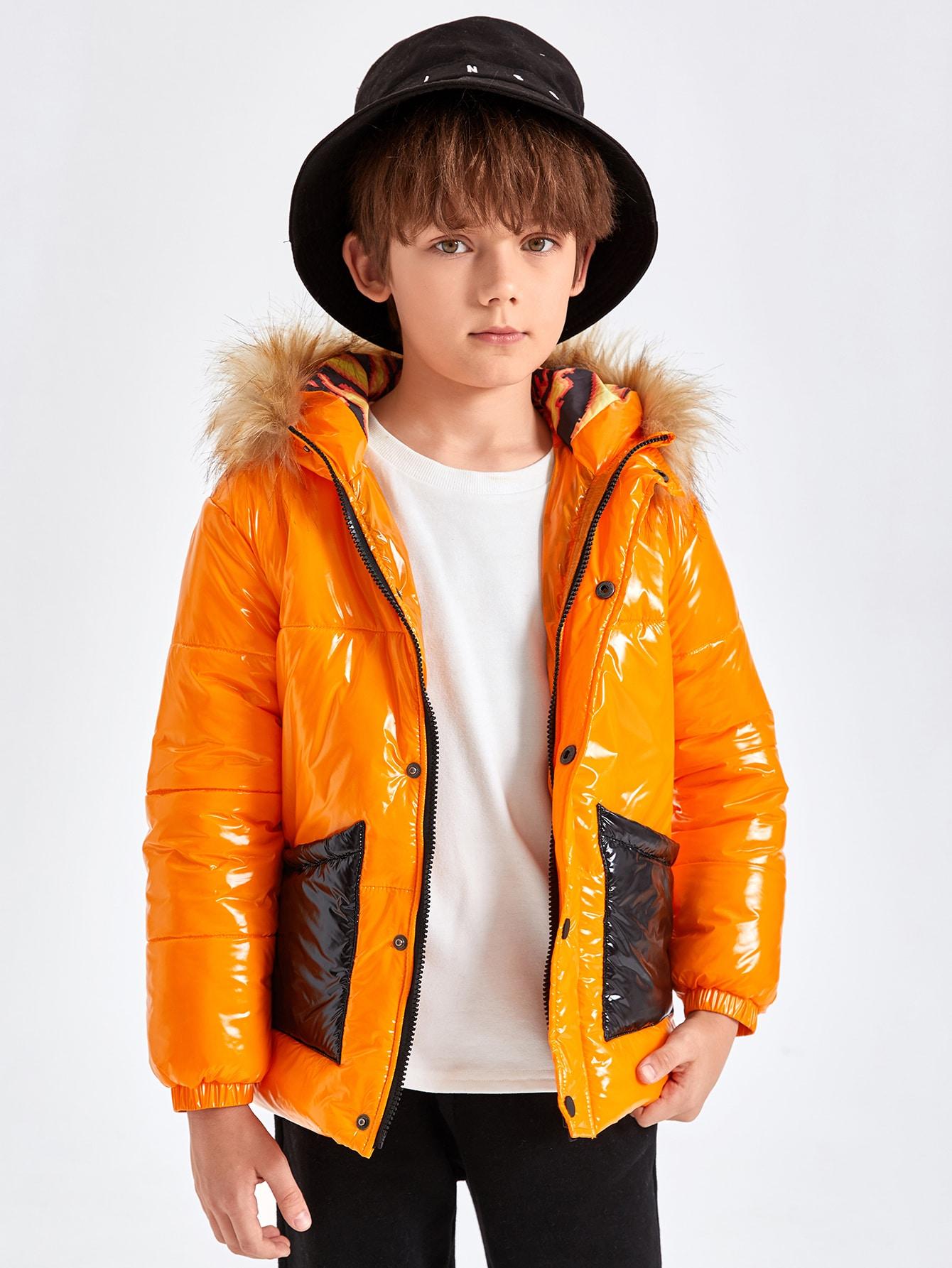 Boys Neon Orange Pu Leather Puffer Jacket