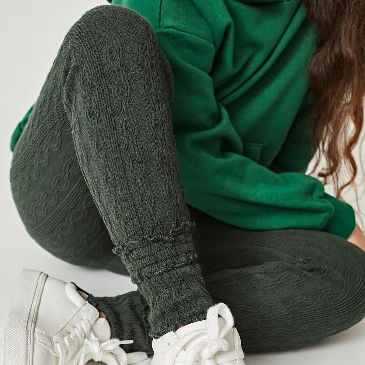 Оборка одноцветный повседневный леггинсы для девочек
