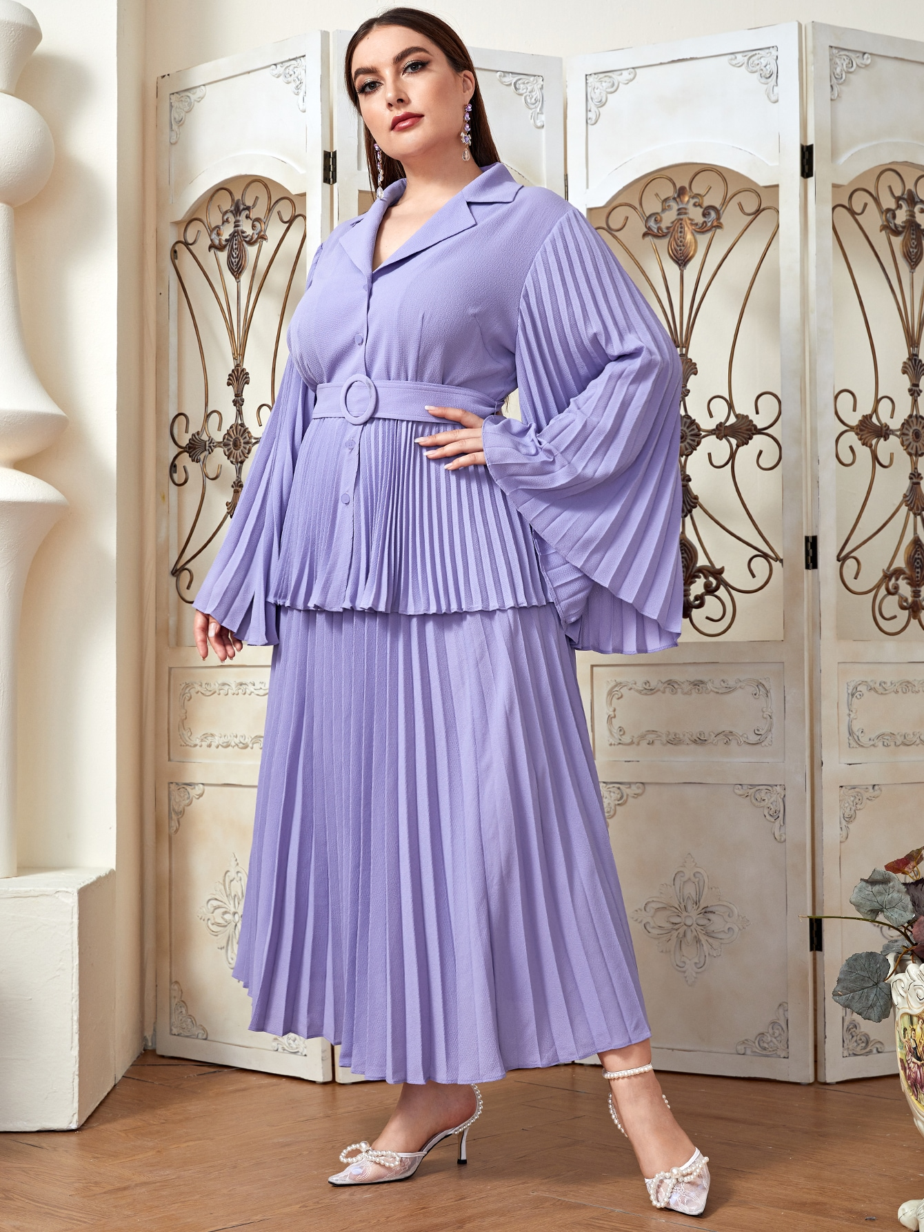 Plus Notched Collar O-ring Belted Blouse & Pleated Skirt Set thumbnail