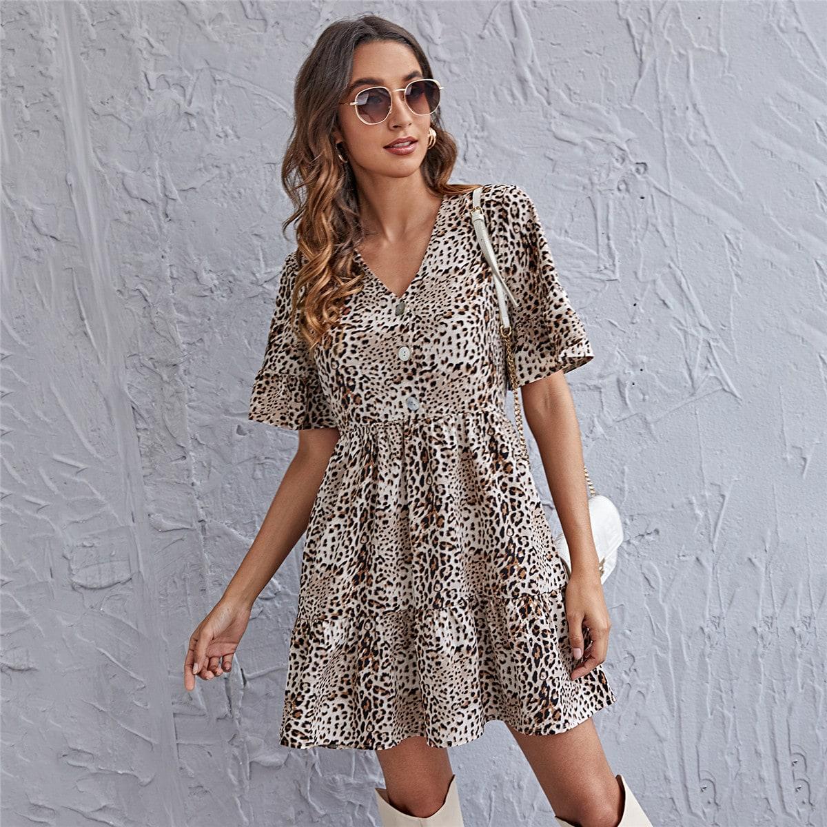 С оборками Леопардовый принт Бохо Платье