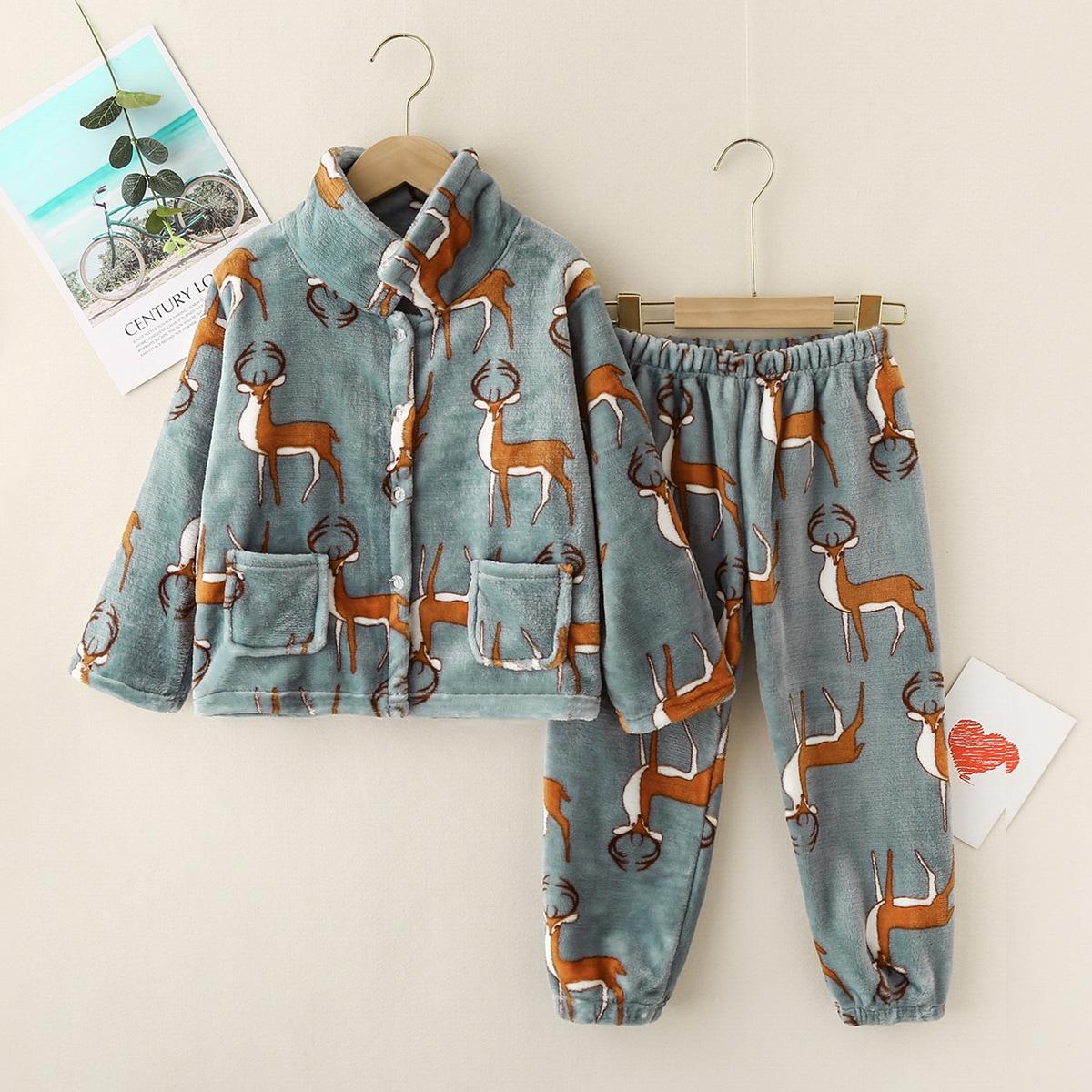 с карманами Мультяшный принт милый Домашняя одежда для мальчиков