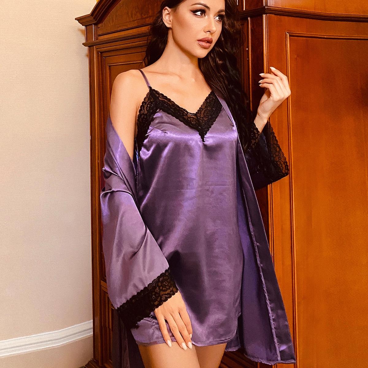 Контрастные кружева Контрастный цвет Сексуальный Ночной халат