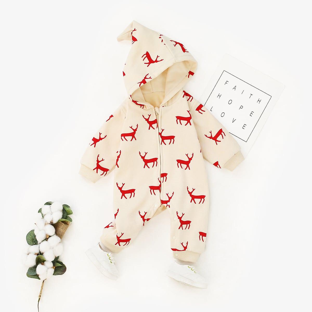 На молнии рождество повседневный комбинезоны для малышей