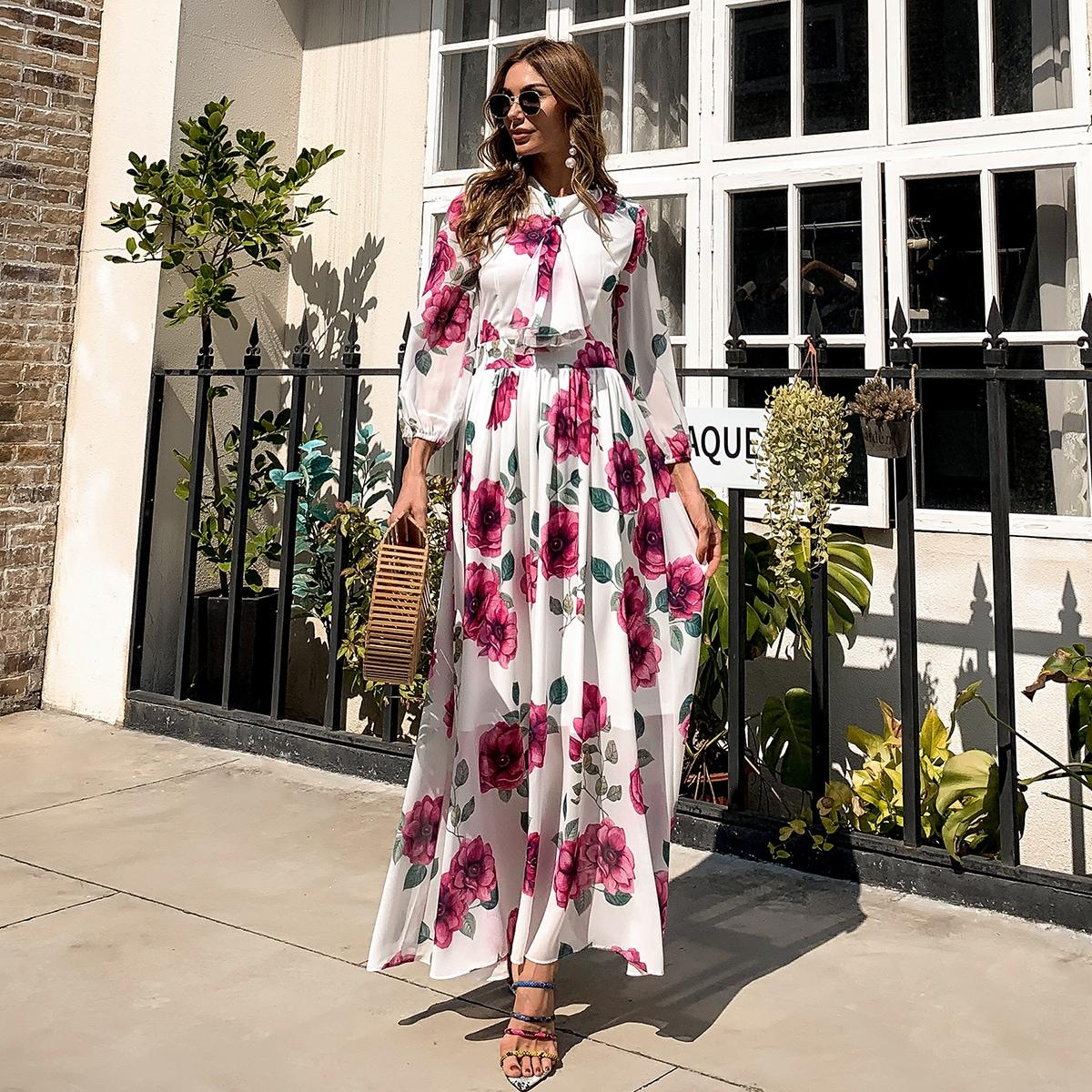 Платье с цветочным принтом и воротником-бантом