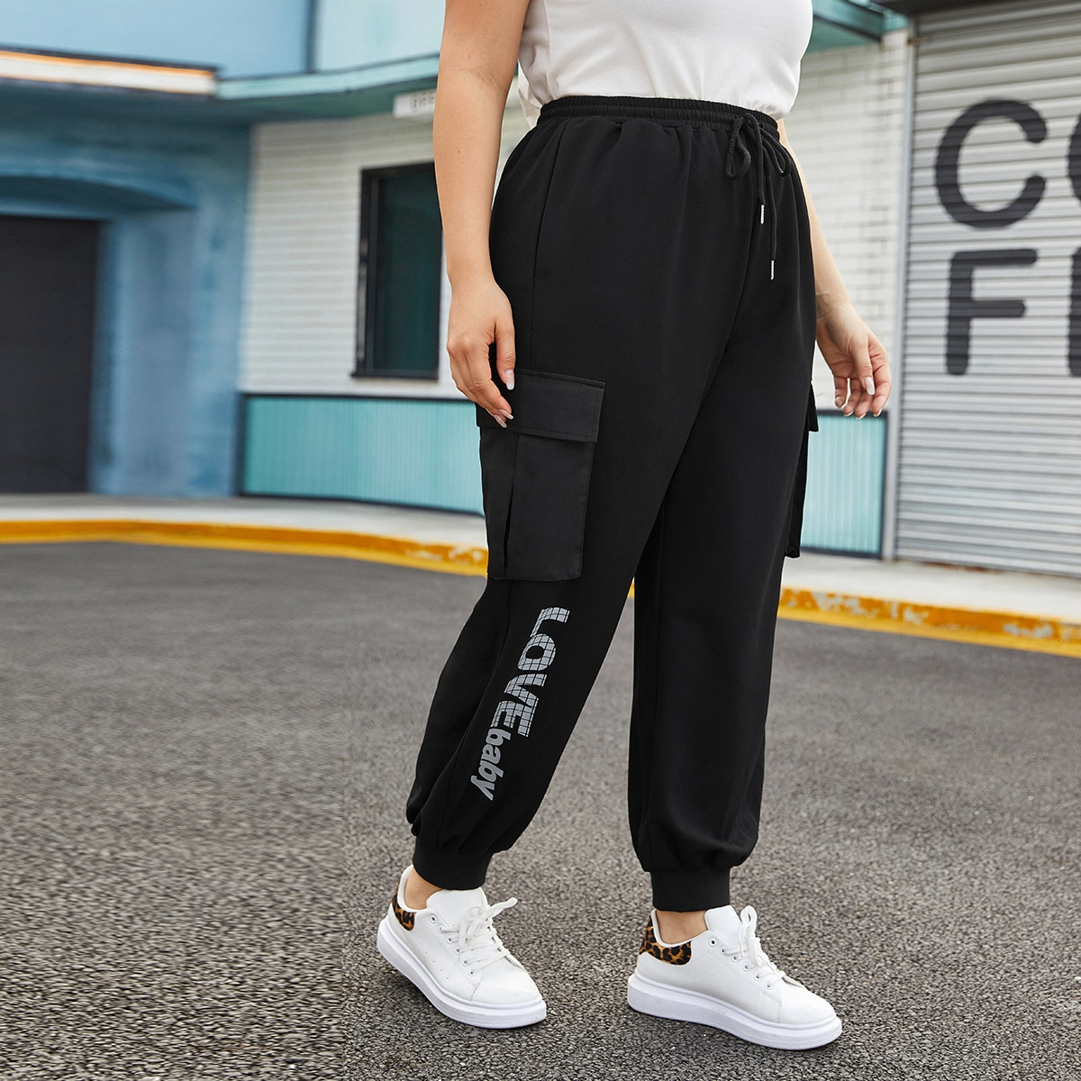 Карман буква спортивный брюки размер плюс