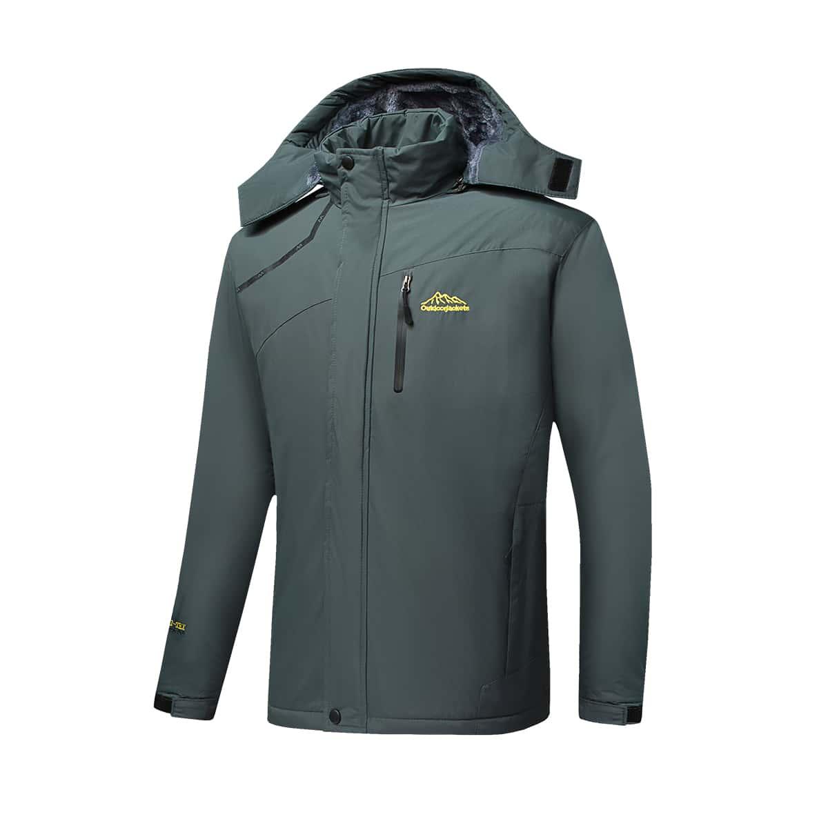 Мужская водонепроницаемая куртка с капюшоном и плюшевой подкладкой
