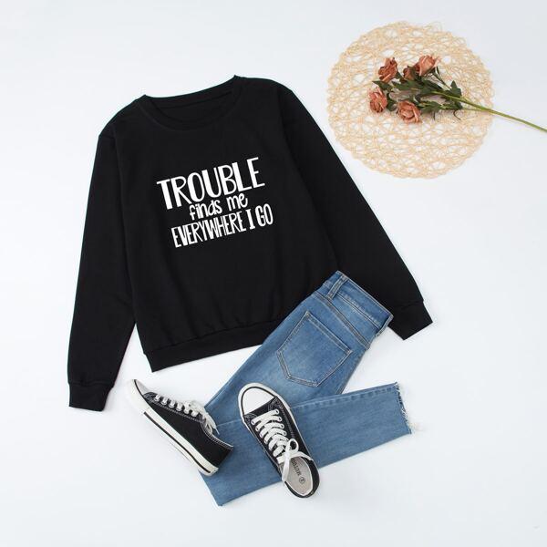 1pc Slogan Graphic Long Sleeve Sweatshirt, Black