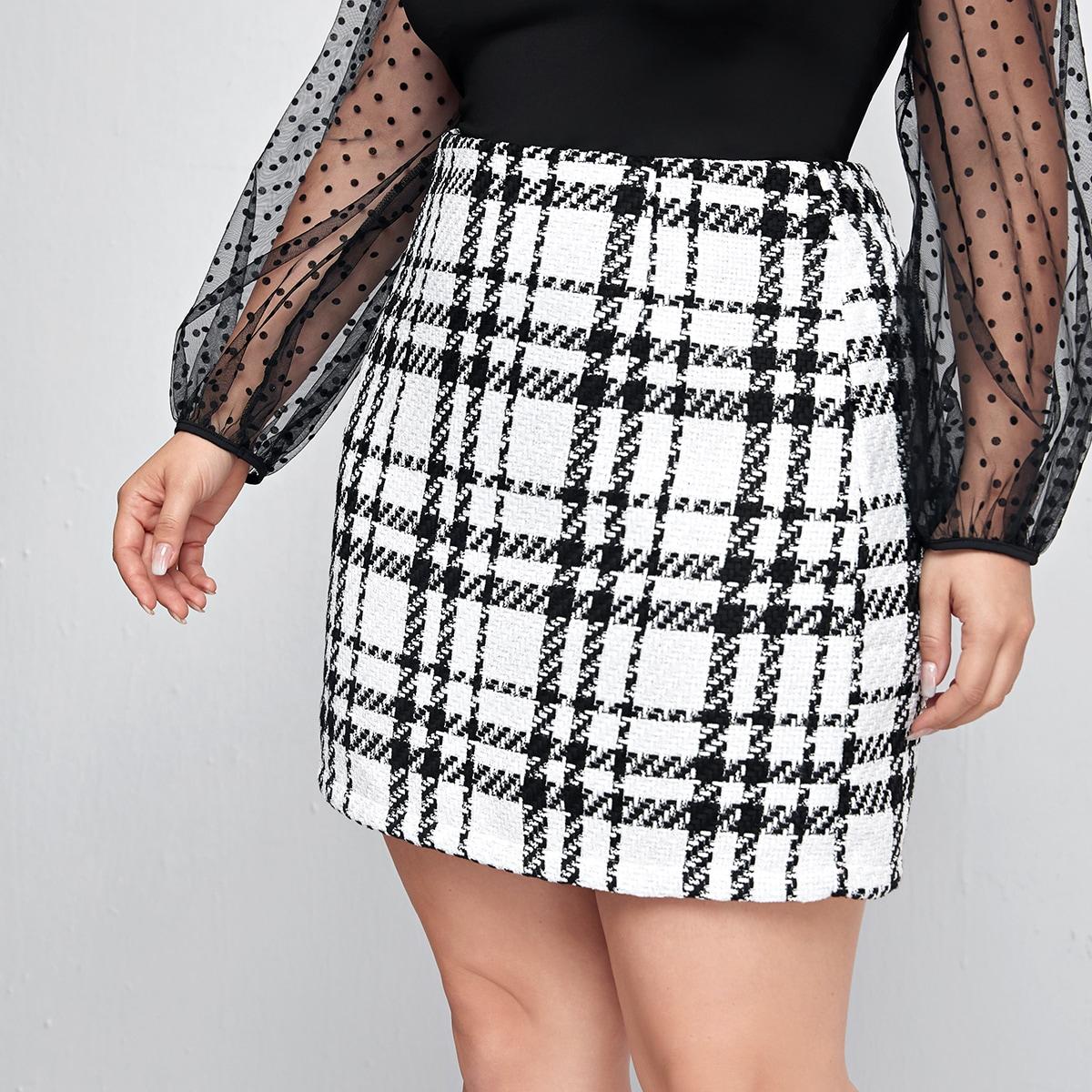 На молнии клетка институтский юбки размер плюс