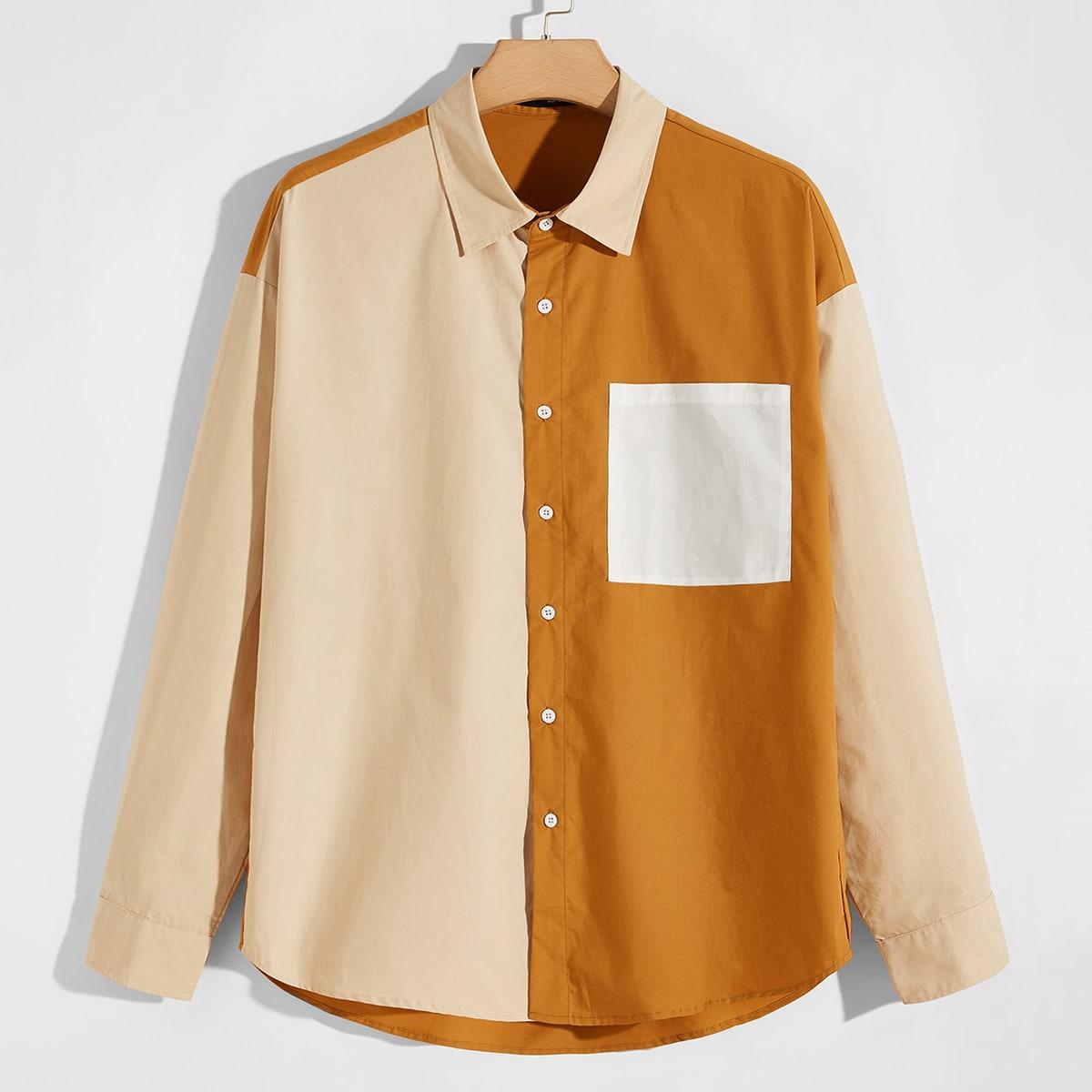 Карман контрастный цвет институтский мужские рубашки