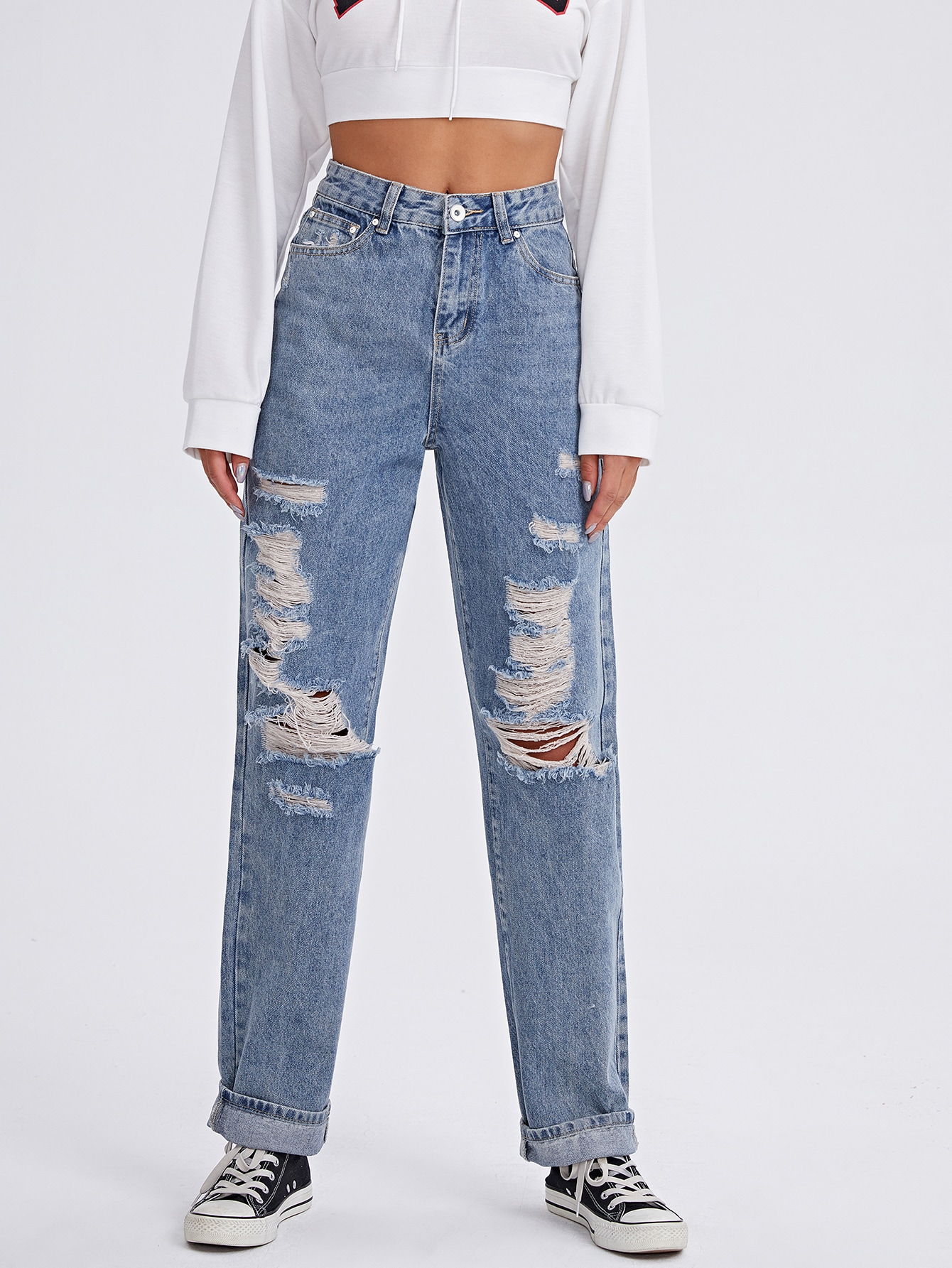 Ripped Straight Leg Jeans thumbnail