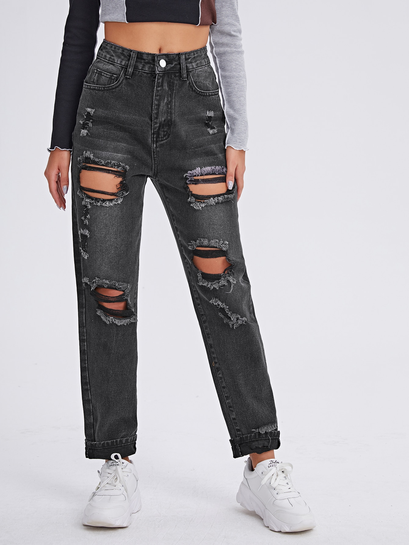 Stonewash Distressed Boyfriend Jeans thumbnail