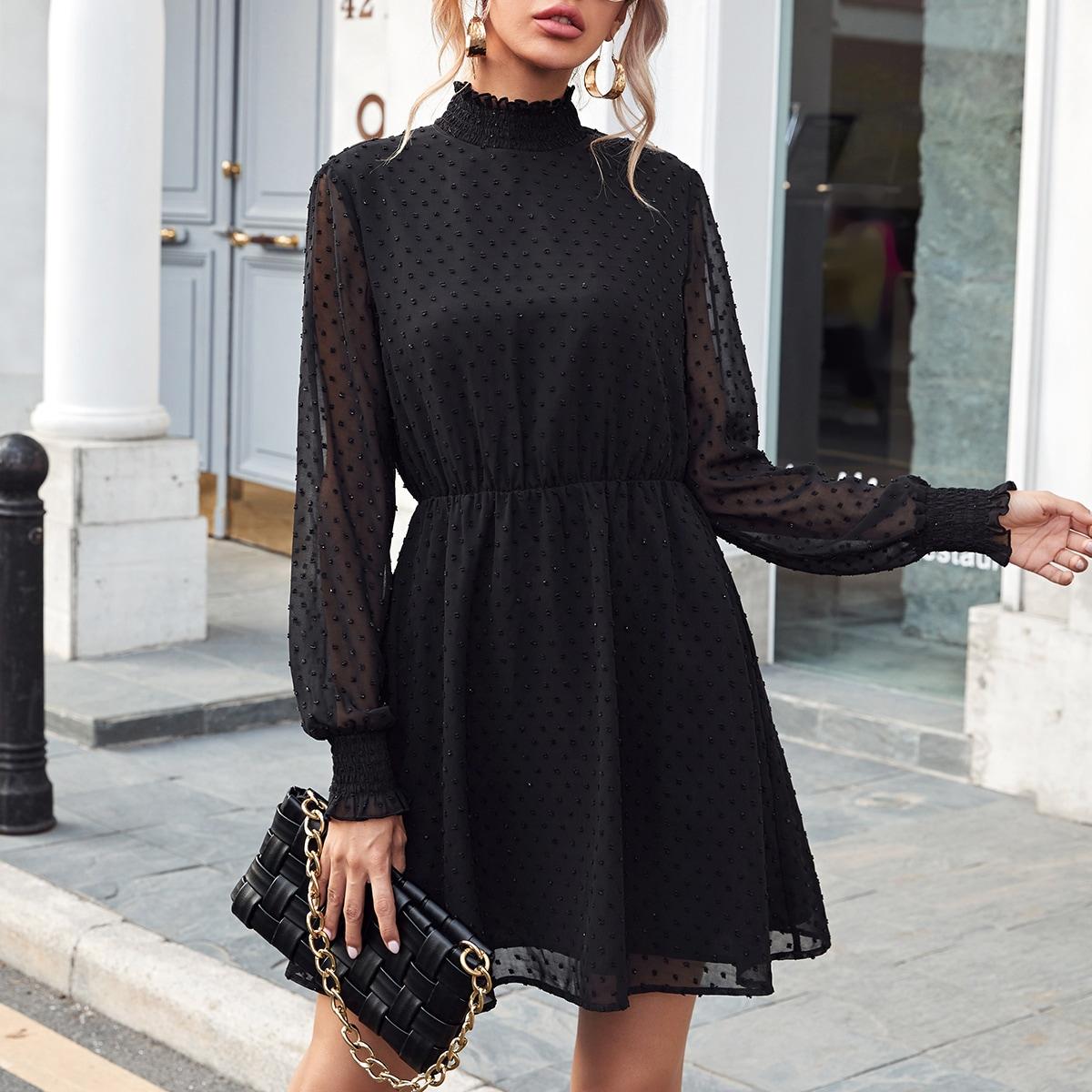 Shirred Detail Swiss Dot Chiffon Dress
