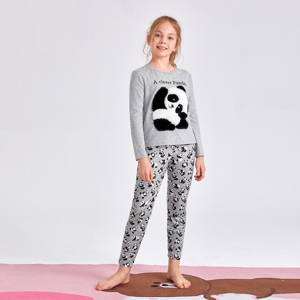 Пижама с рисунком панды и текстовой вышивкой для девочек