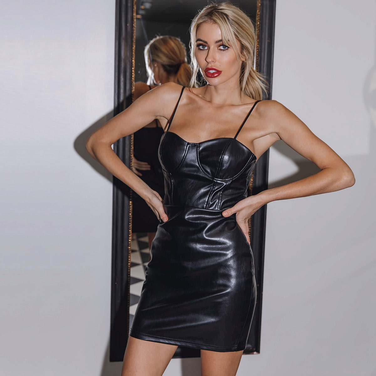 Exposed Zipper Back PU Leather Bustier Dress