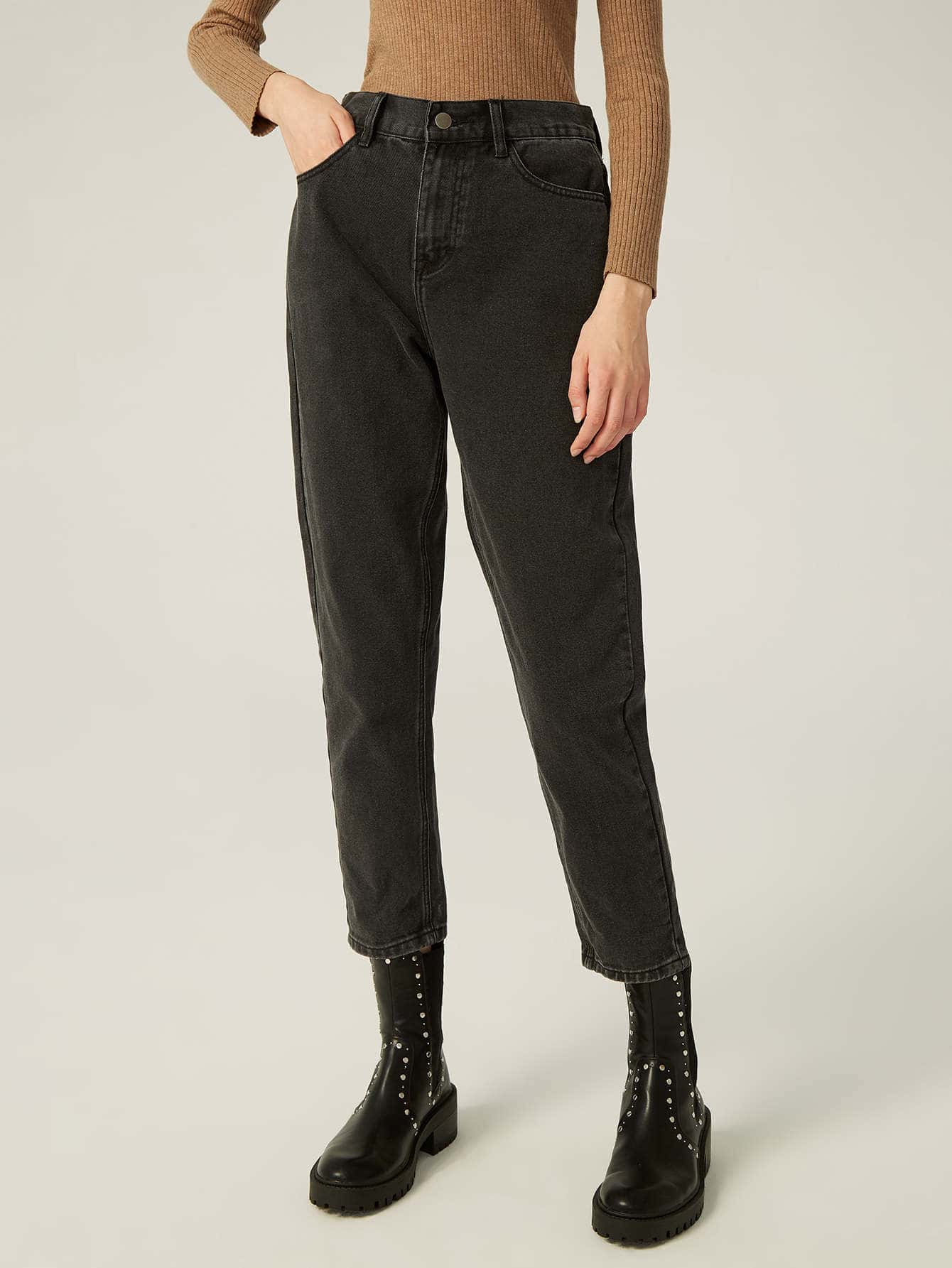 COTTON HIGH-WAISTED CROPPED JEANS thumbnail