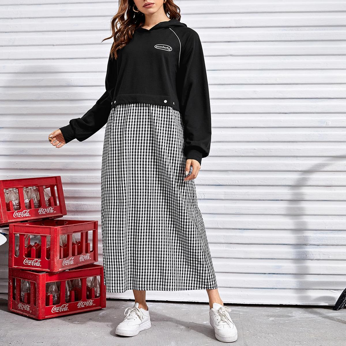 Contrast Binding Raglan Sleeve Gingham Spliced Hooded Sweatshirt Dress