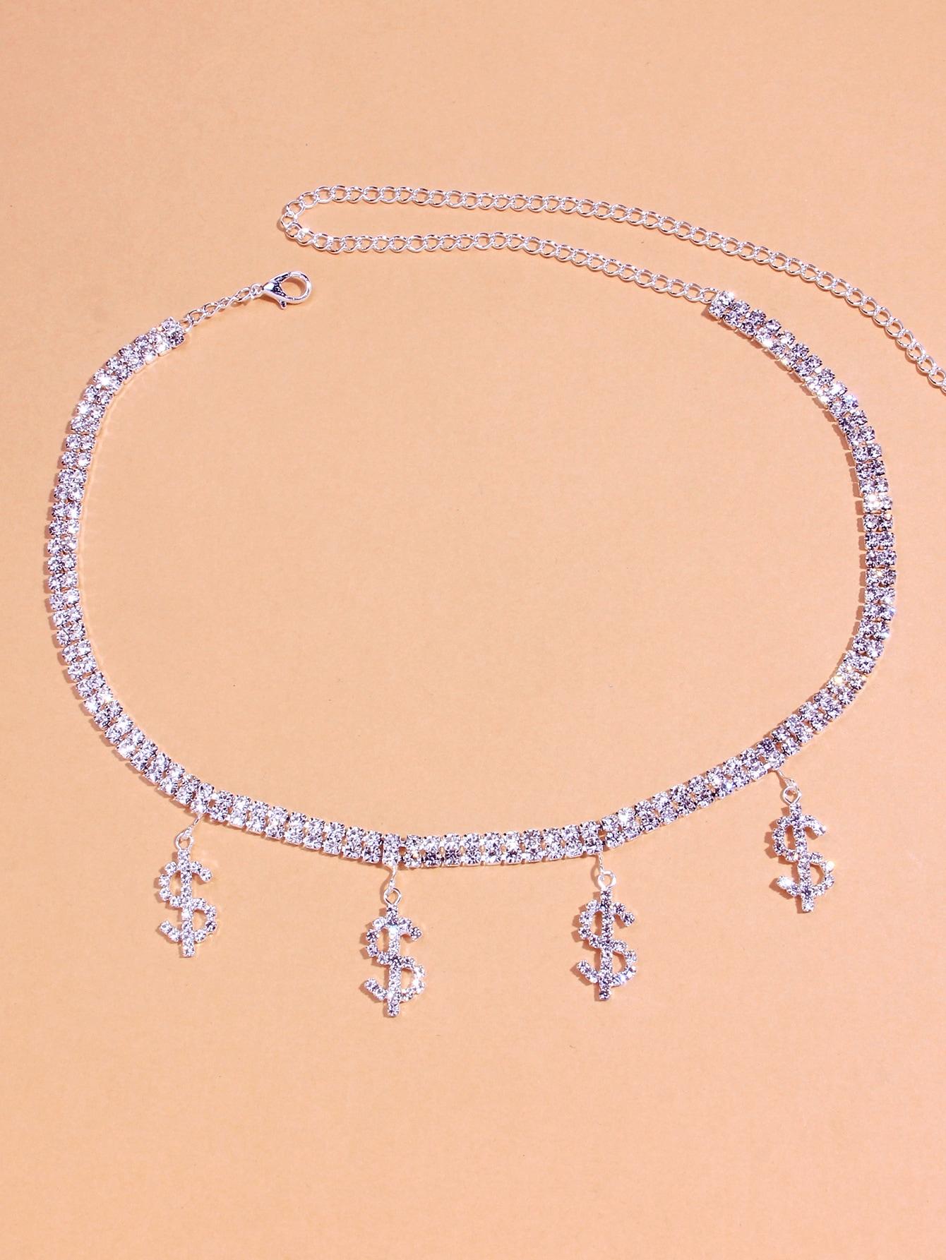 Rhinestone Decor Dollar Charm Necklace thumbnail