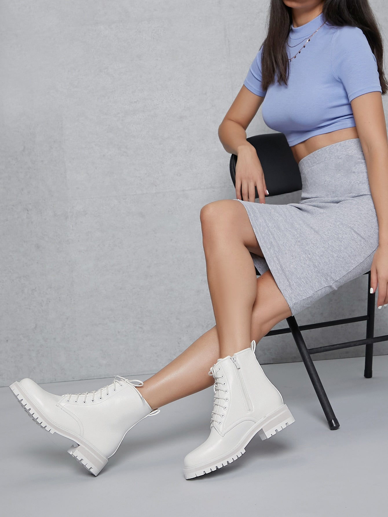 Faux Leather Lug Sole Lace Up Combat Boots