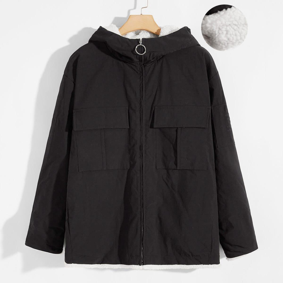 Мужское пальто на молнии с капюшоном и тедди