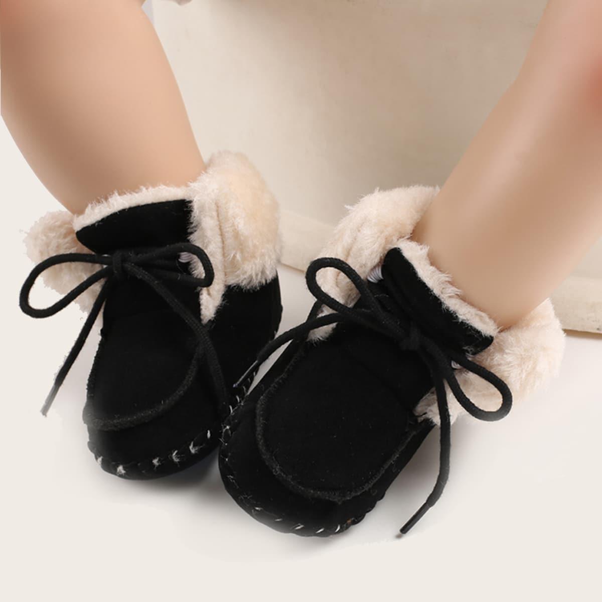 Ботильоны на шнурках и подкладкке из искусственного меха для мальчиков