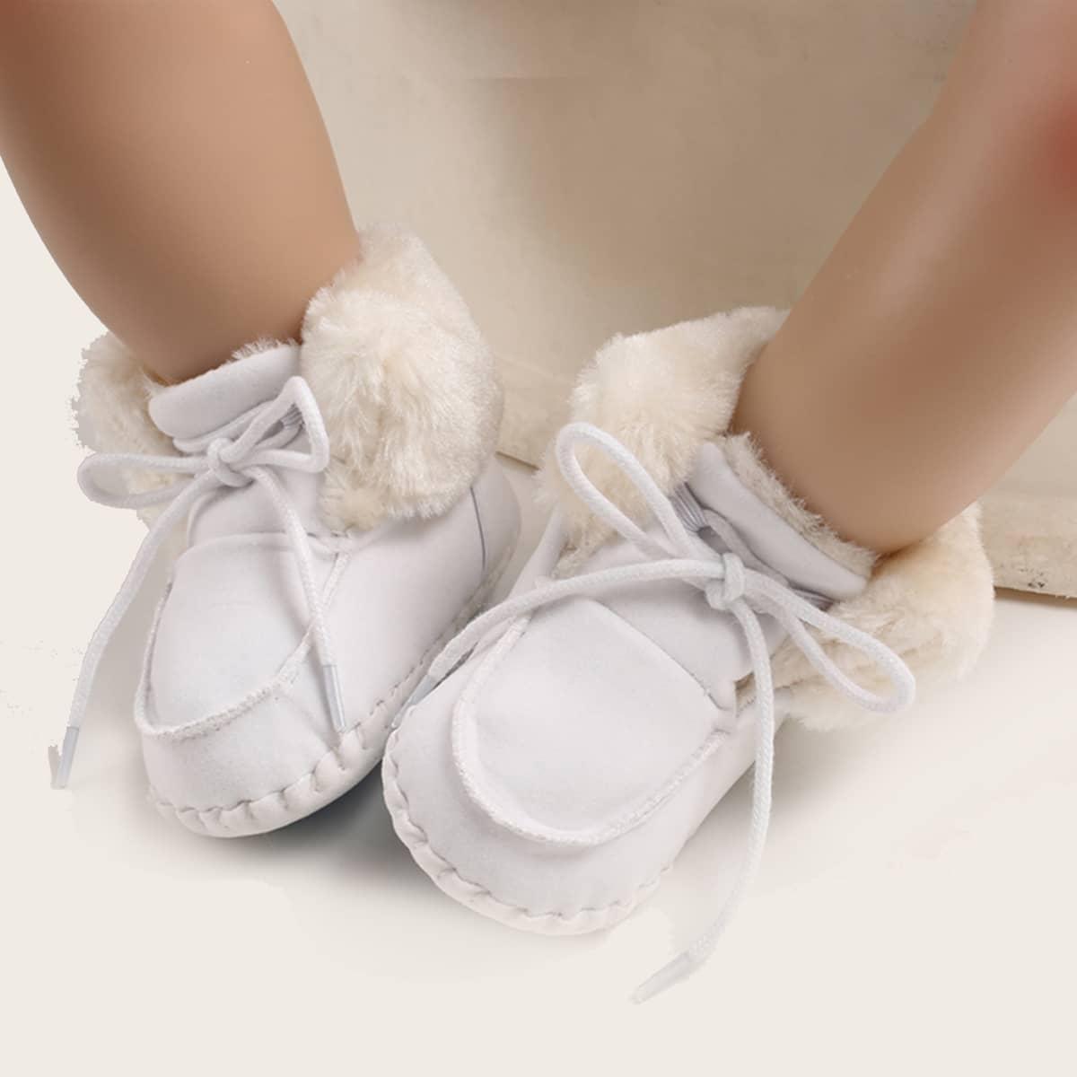 Ботильоны на плюшевой подкладке и шнурках для мальчиков
