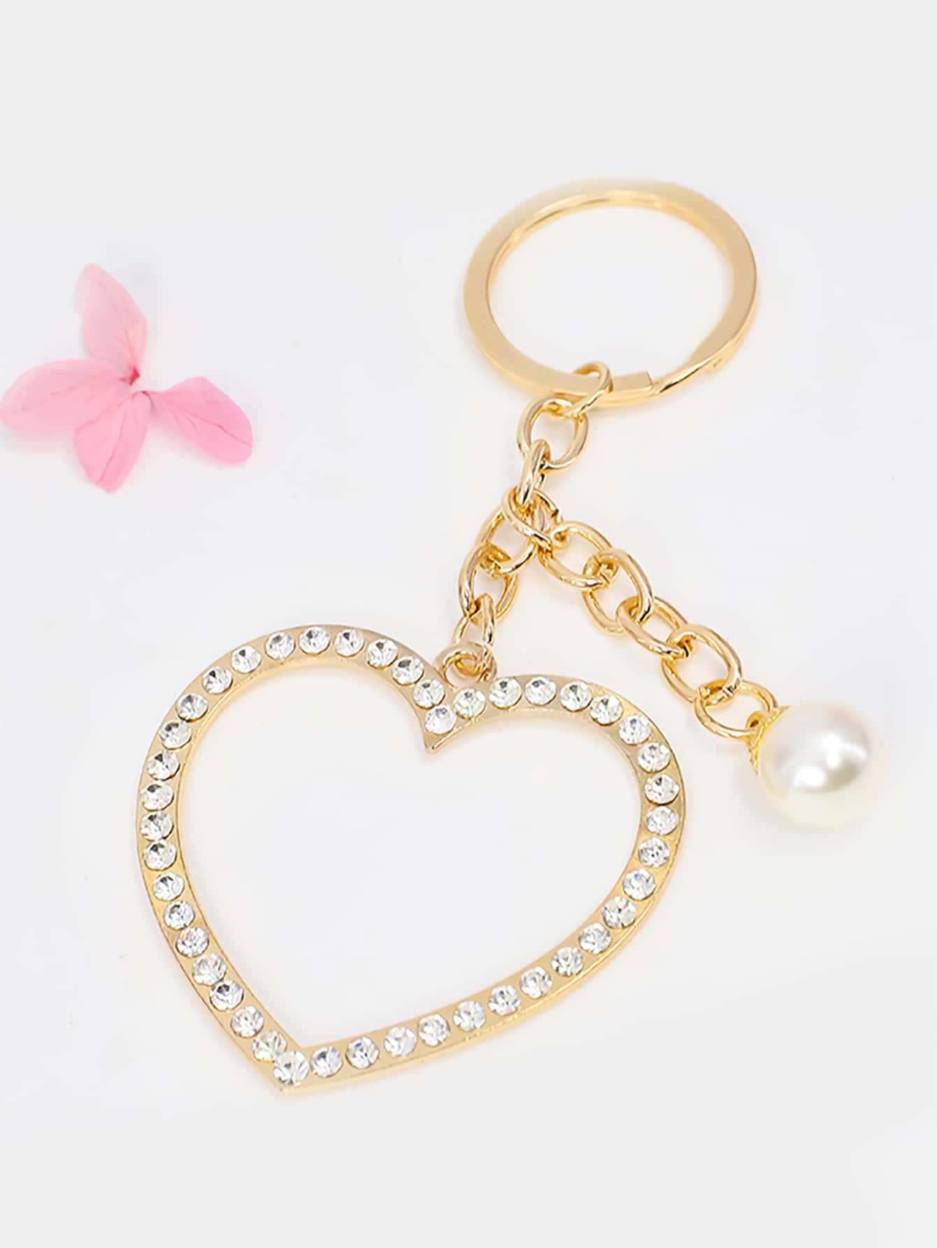 Rhinestone Heart Charm Keychain thumbnail
