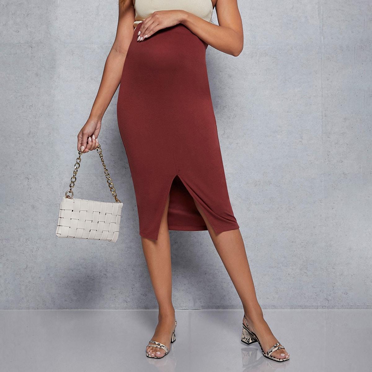 Разрез одноцветный элегантный юбки для беременных