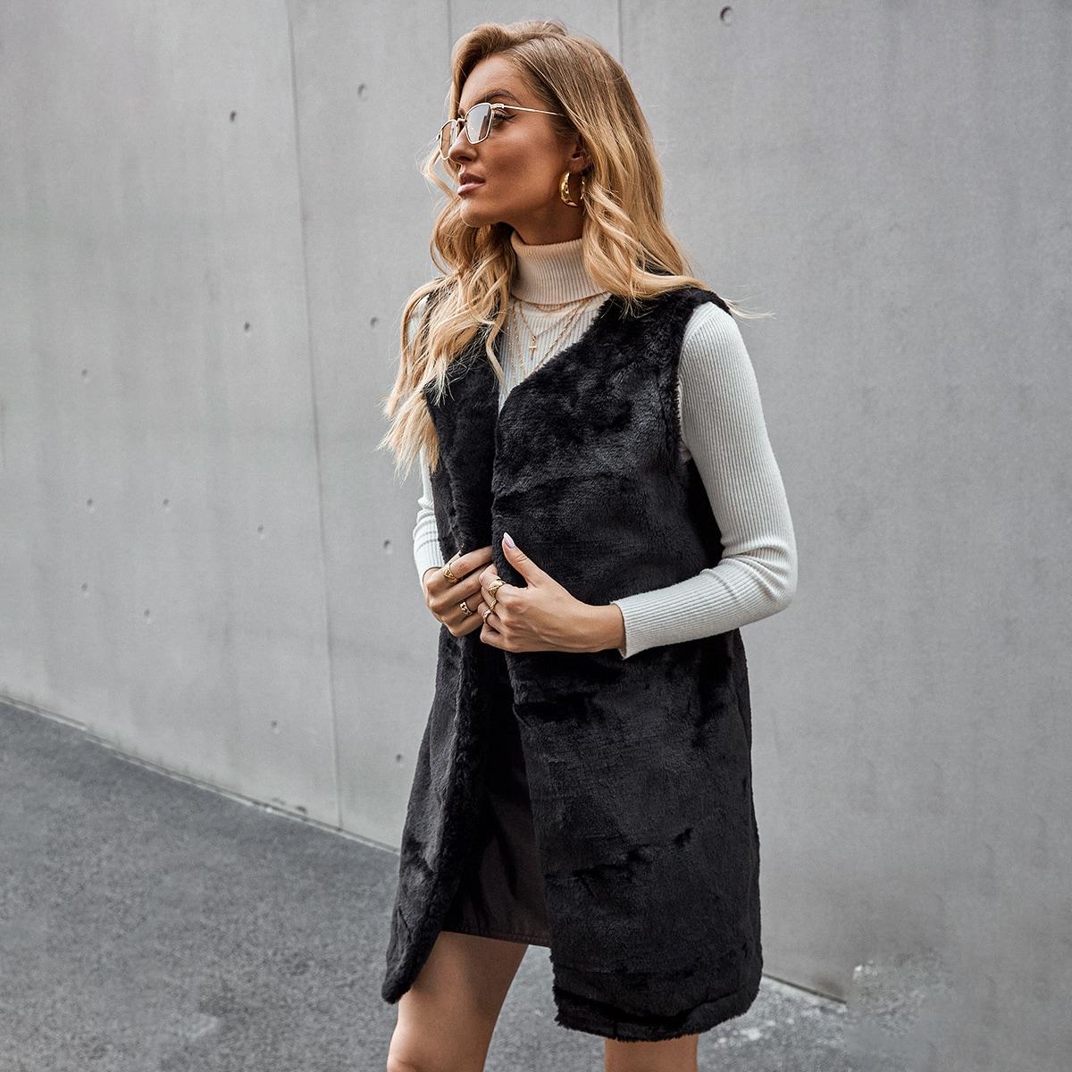 Пальто-жилет из искусственной кожи