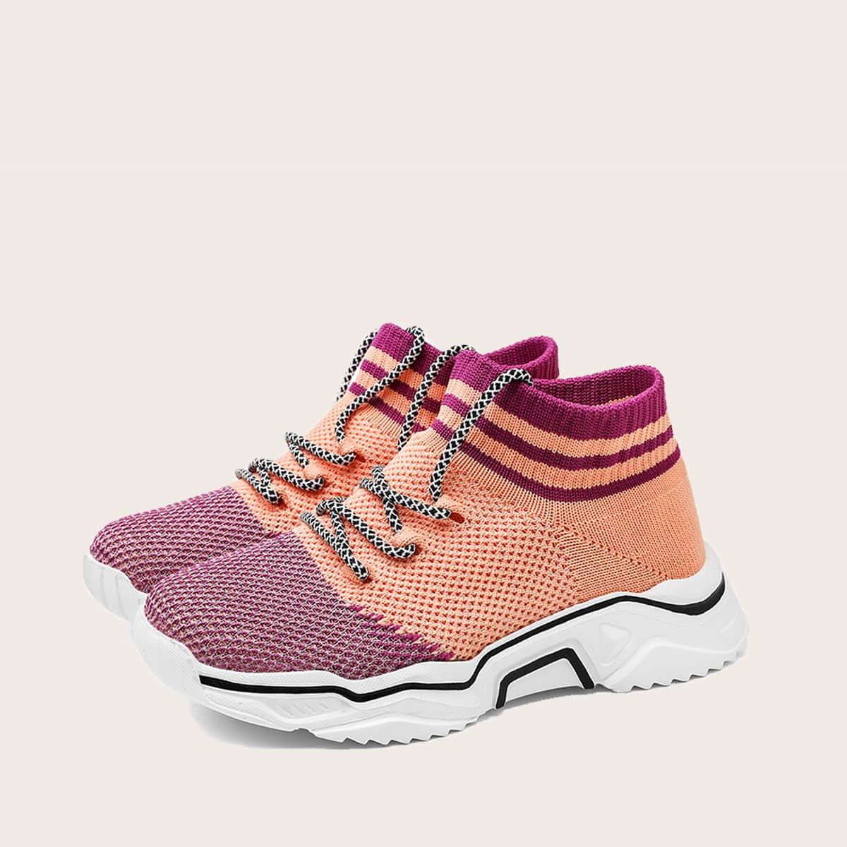 Контрастные кроссовки на шнурках для девочек