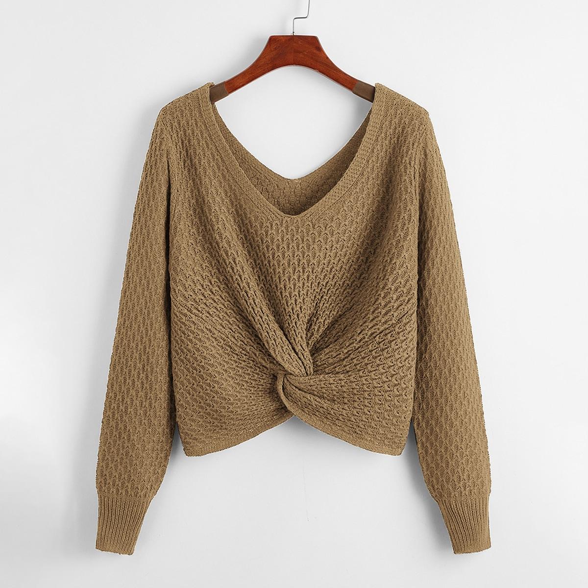 Plus Double V-neck Twist Hem Sweater