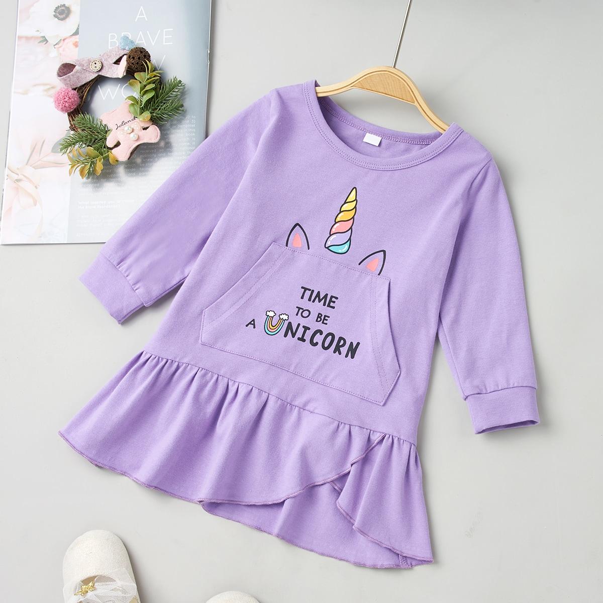 С карманами мультяшный принт повседневный платья для малышей