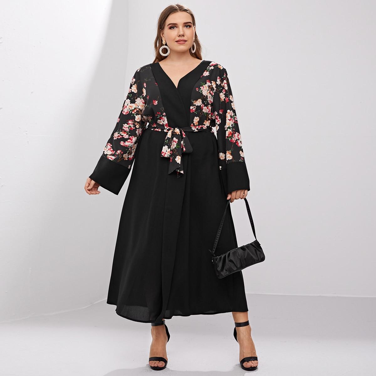 С поясом со цветочками элегантный кимоно размер плюс
