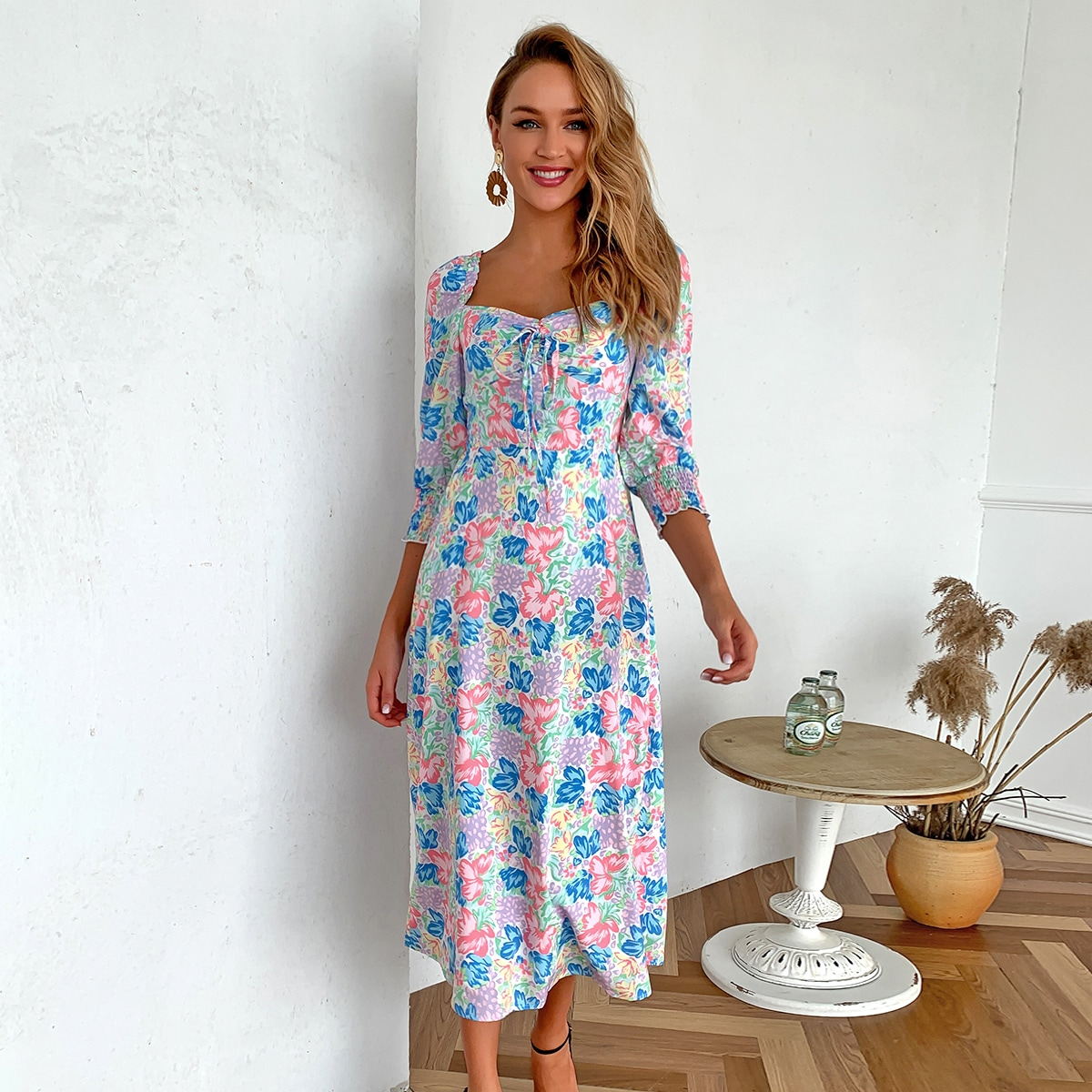 Sweetheart Neck Tie Front Floral Dress