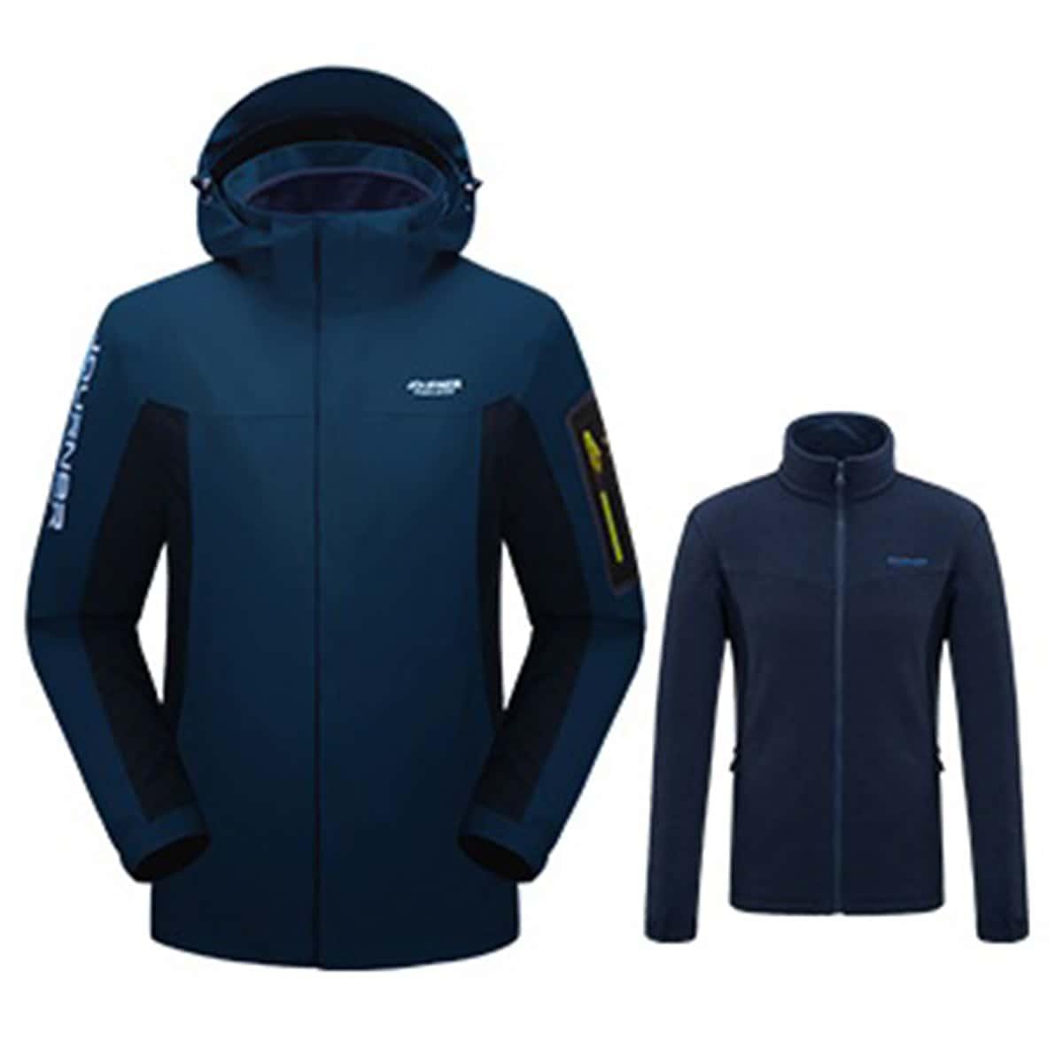 Мужская 3 в 1 водонепроницаемая куртка с капюшоном и съемной флисовой подкладкой