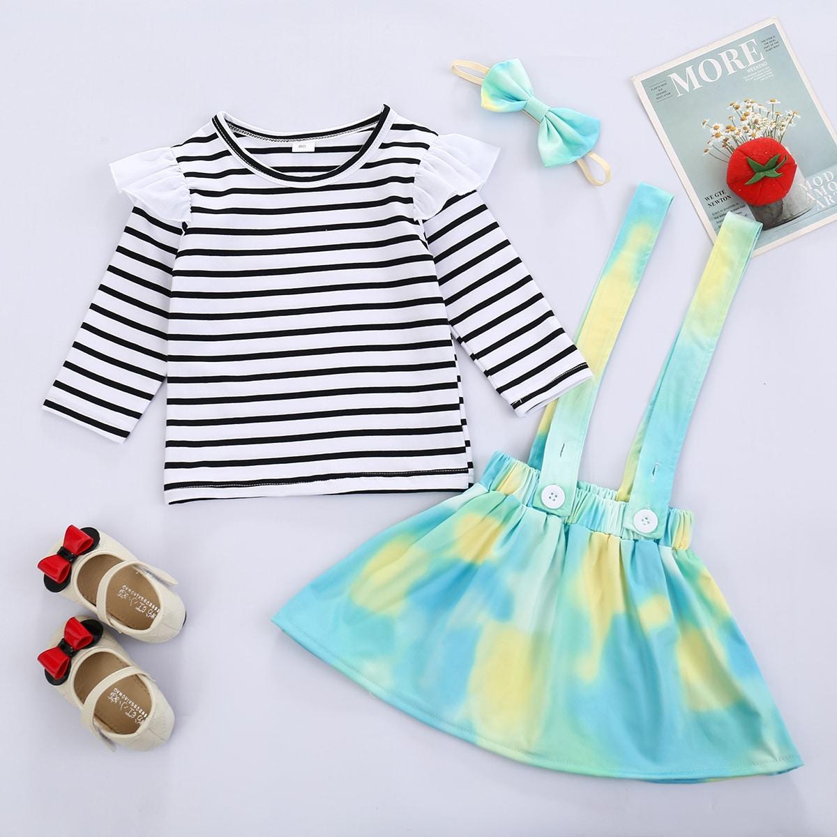 Пуговица полосатый милый комплект из двух предметов для девочек