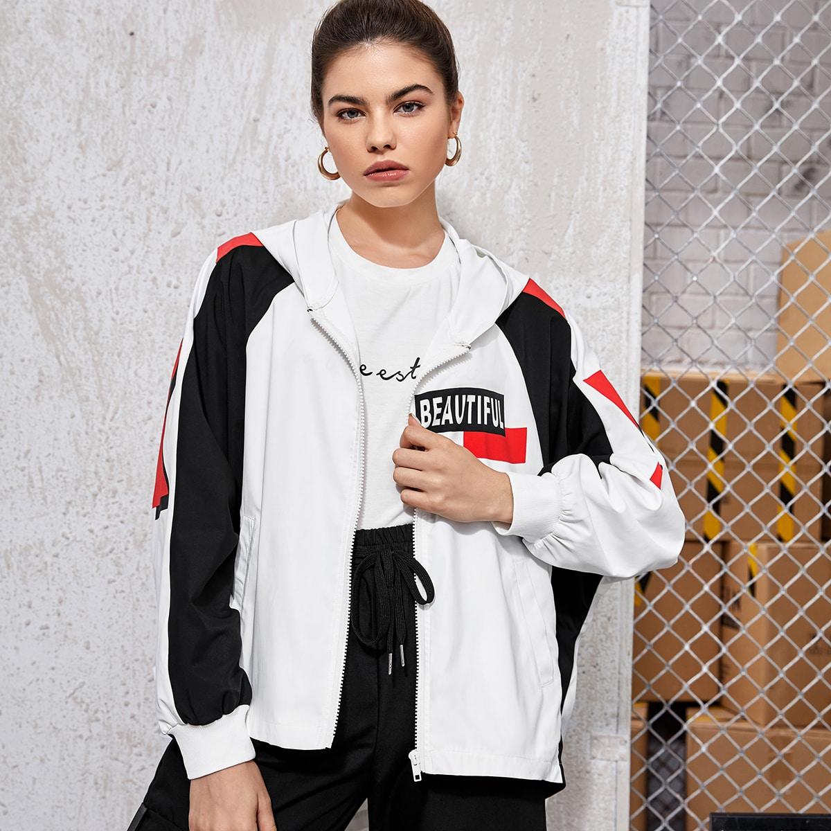 Zipper Front Letter Graphic Colorblock Jacket