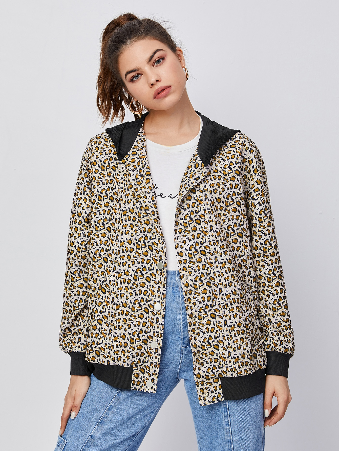 press buttoned leopard print contrast hooded jacket