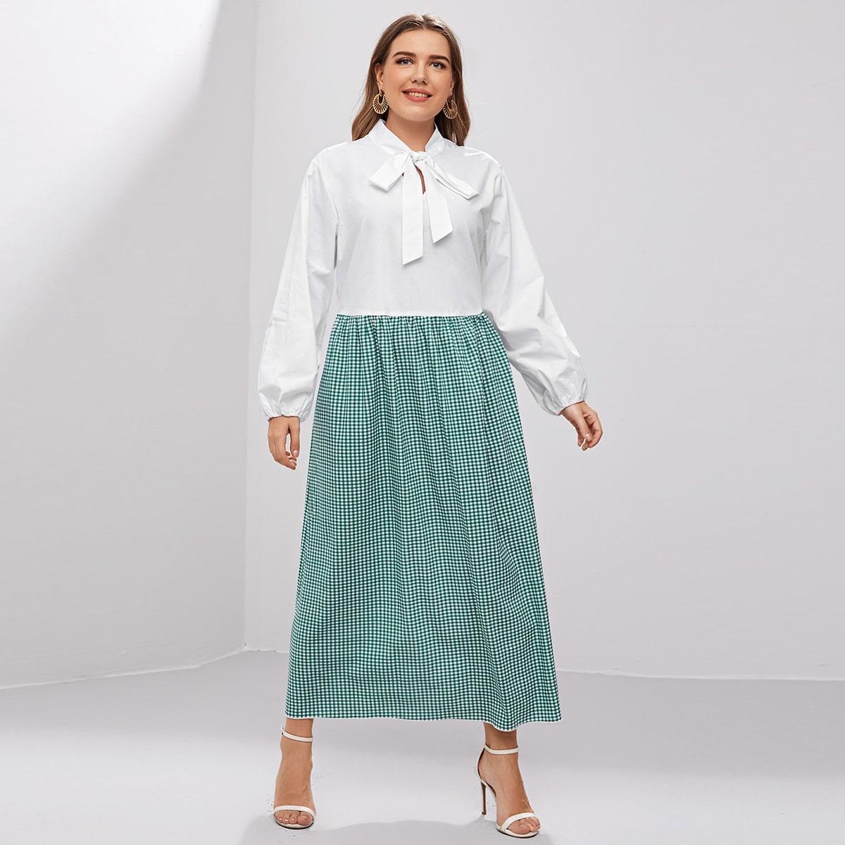 Клетчатый Элегантный Платья размер плюс