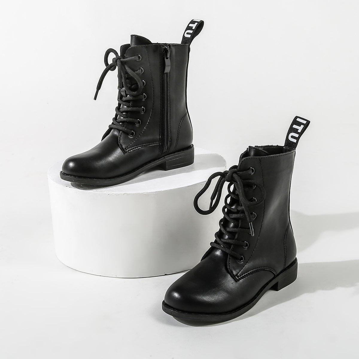 Сапоги с молнией на шнурках для девочек