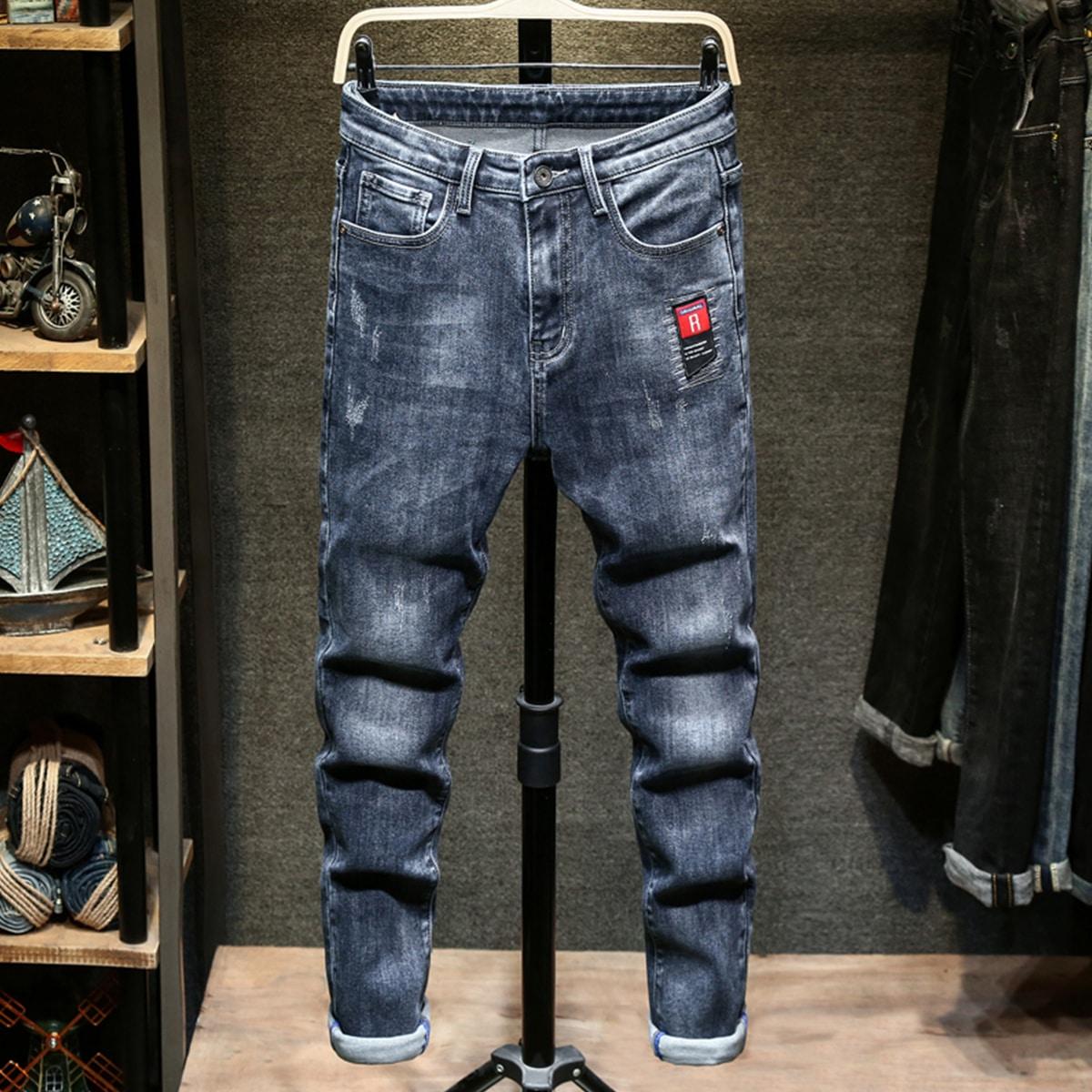 Пугавица буква повседневный мужские джинсы
