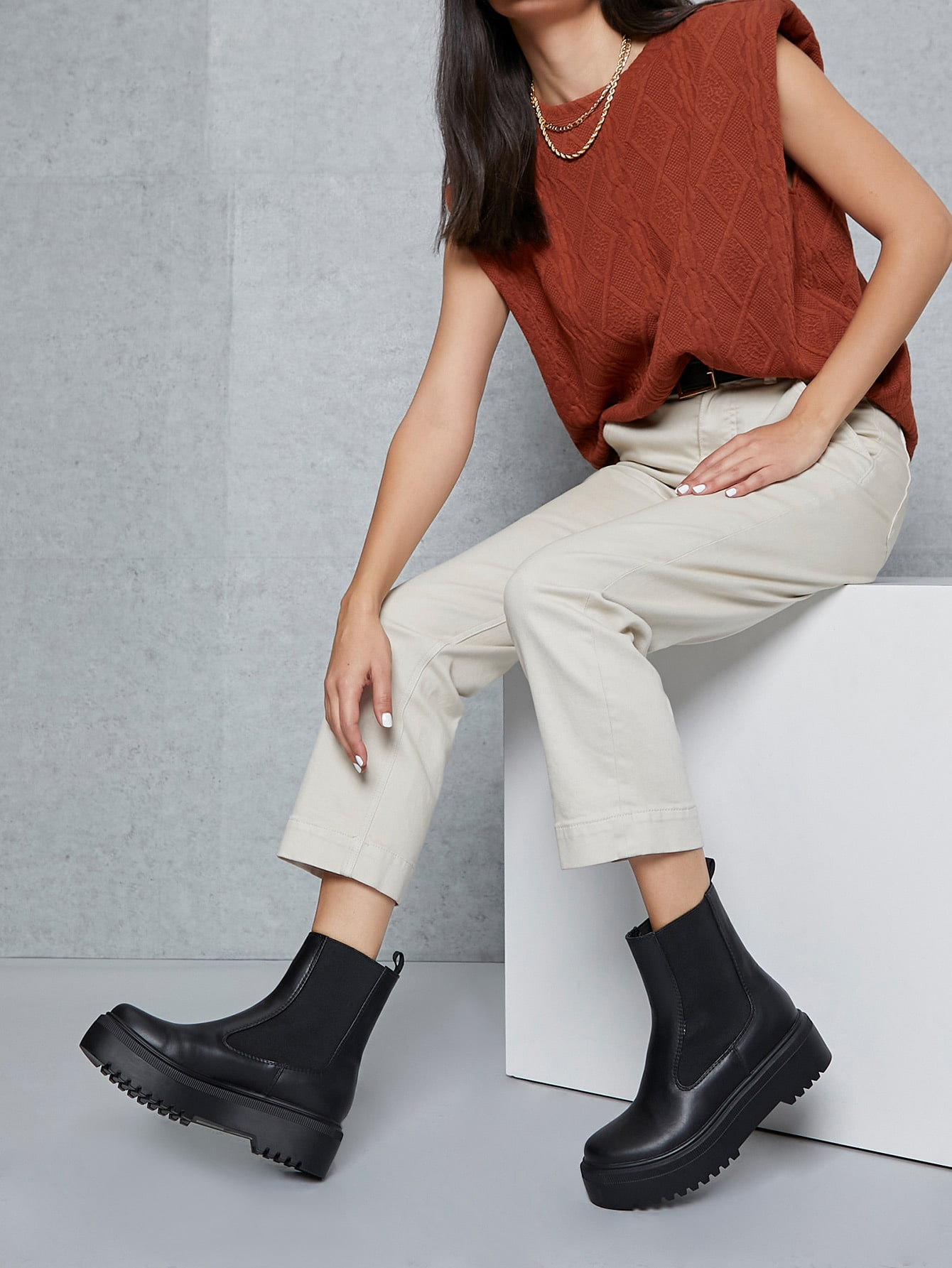 Faux Leather Lug Sole Ankle Chelsea Boots