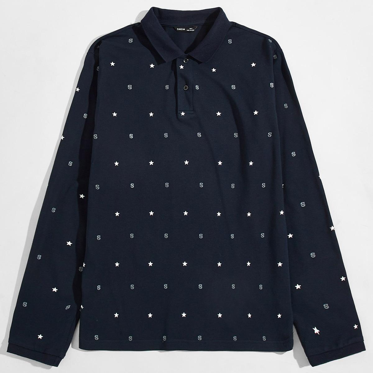 Пуговица принт повседневный мужская рубашка-поло