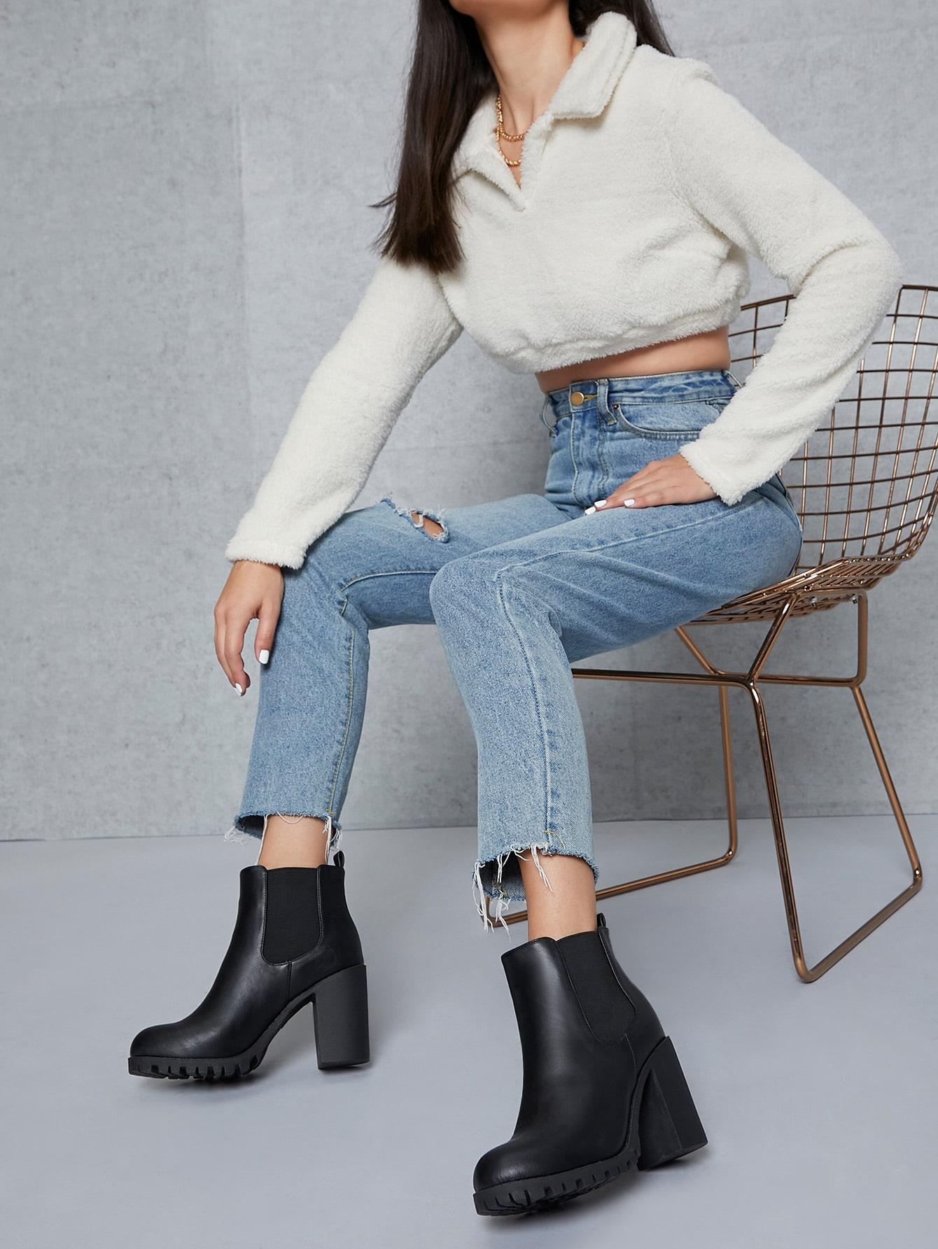 Faux Leather Block Heel Chelsea Boots thumbnail