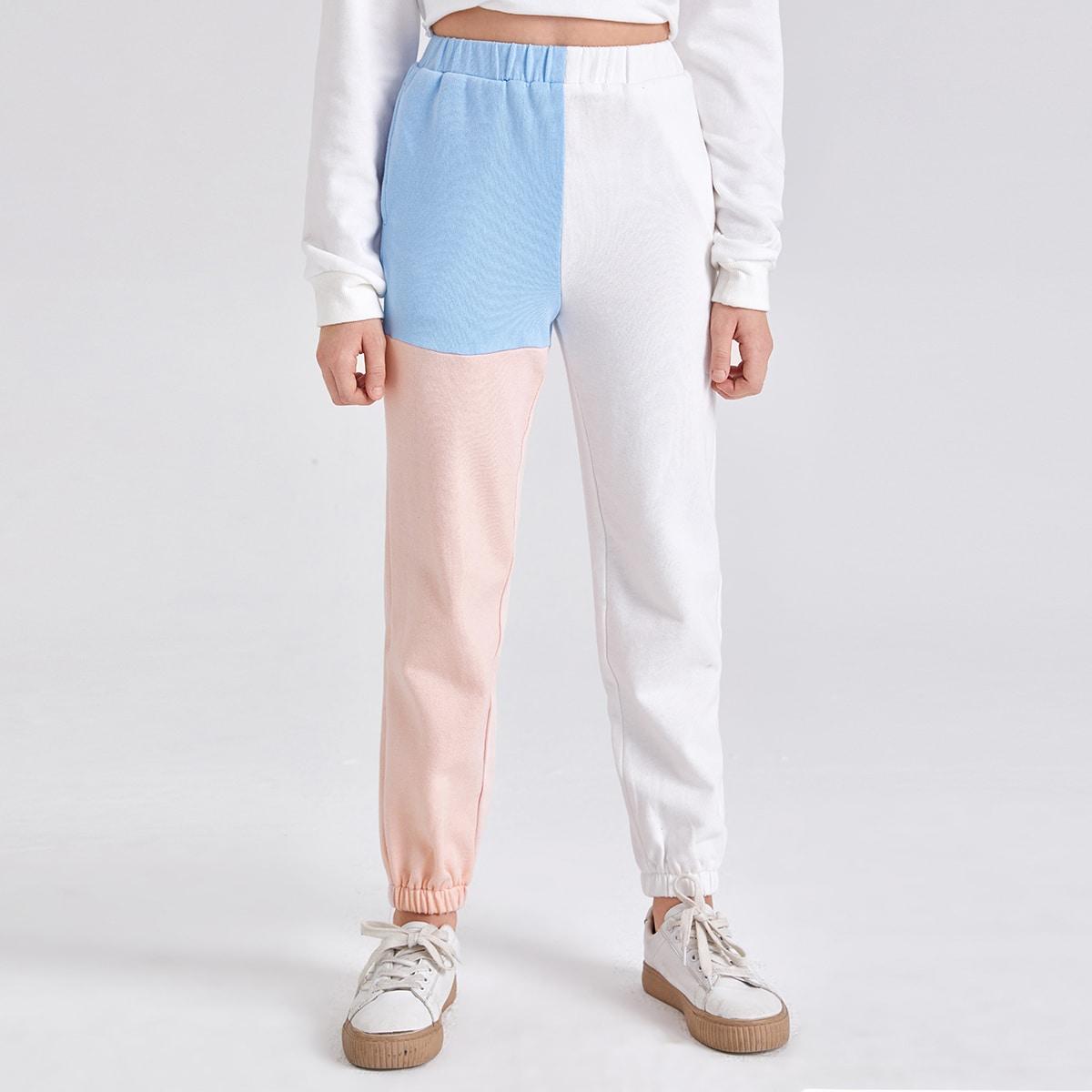 Контрастный повседневный брюки для девочек