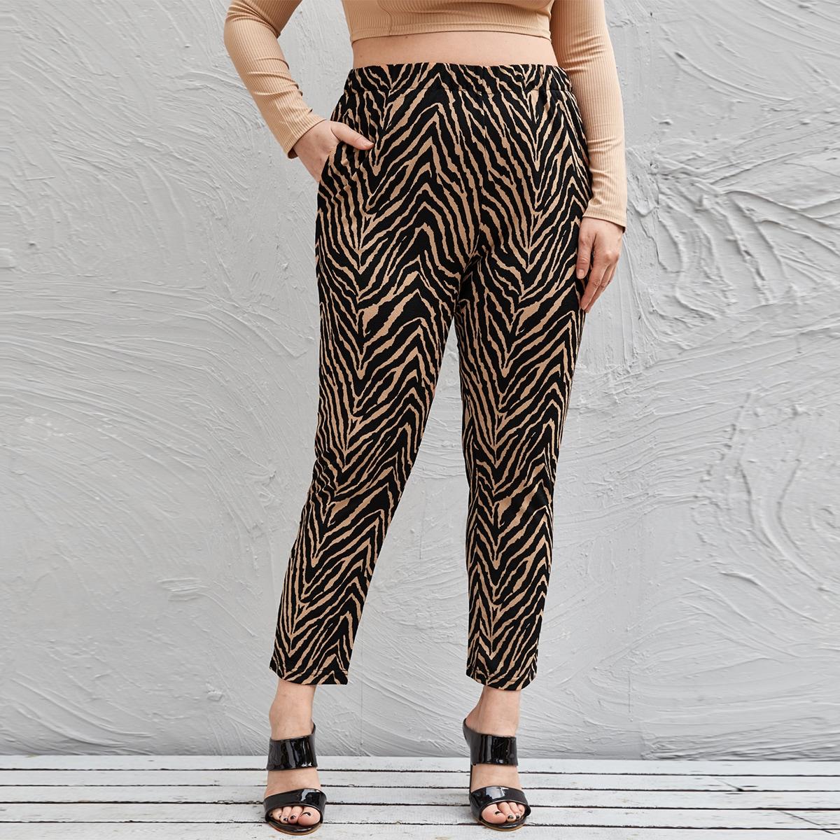 SHEIN Casual Zebra print Grote maten broeken Zak