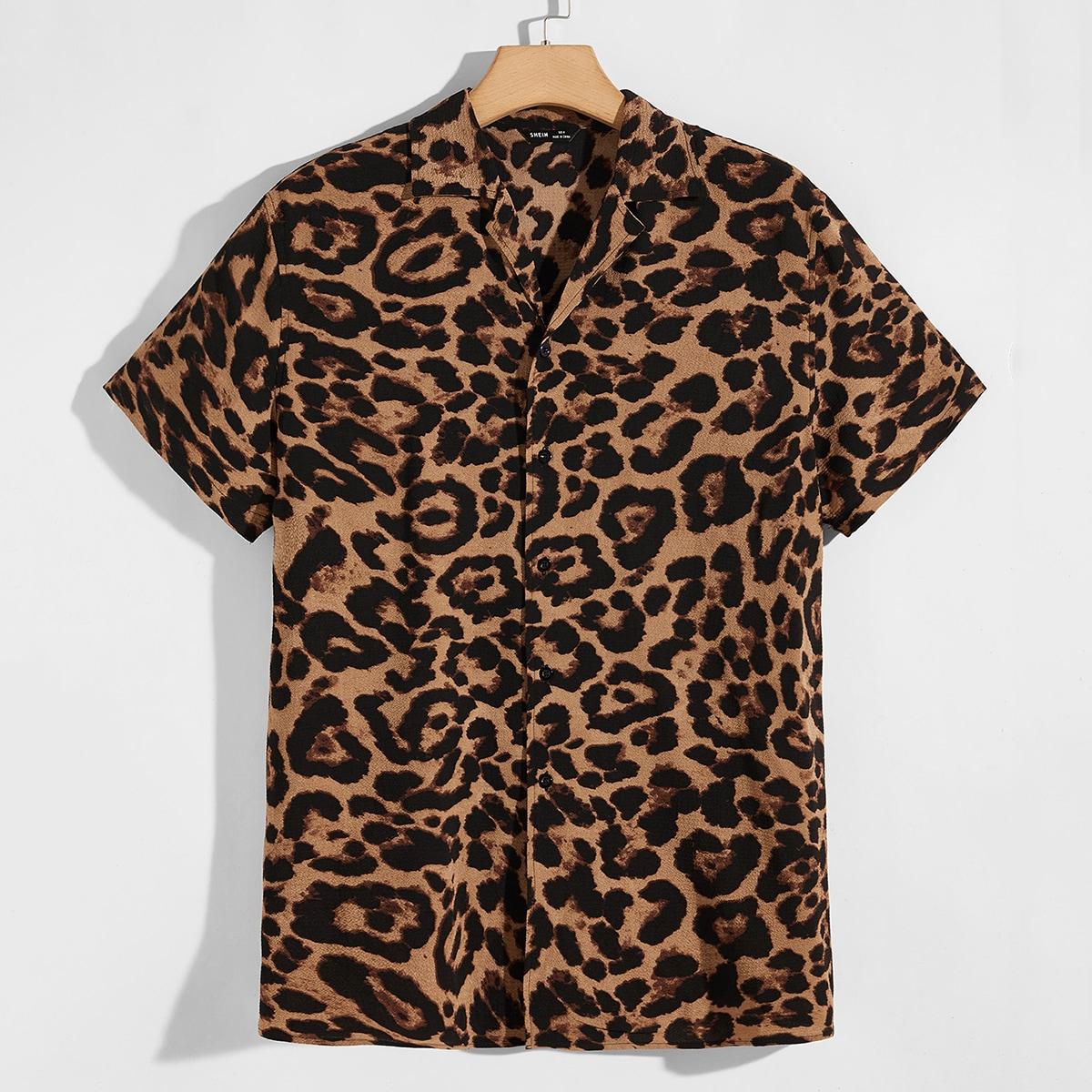 Пуговица леопардовый отпуск мужские рубашки