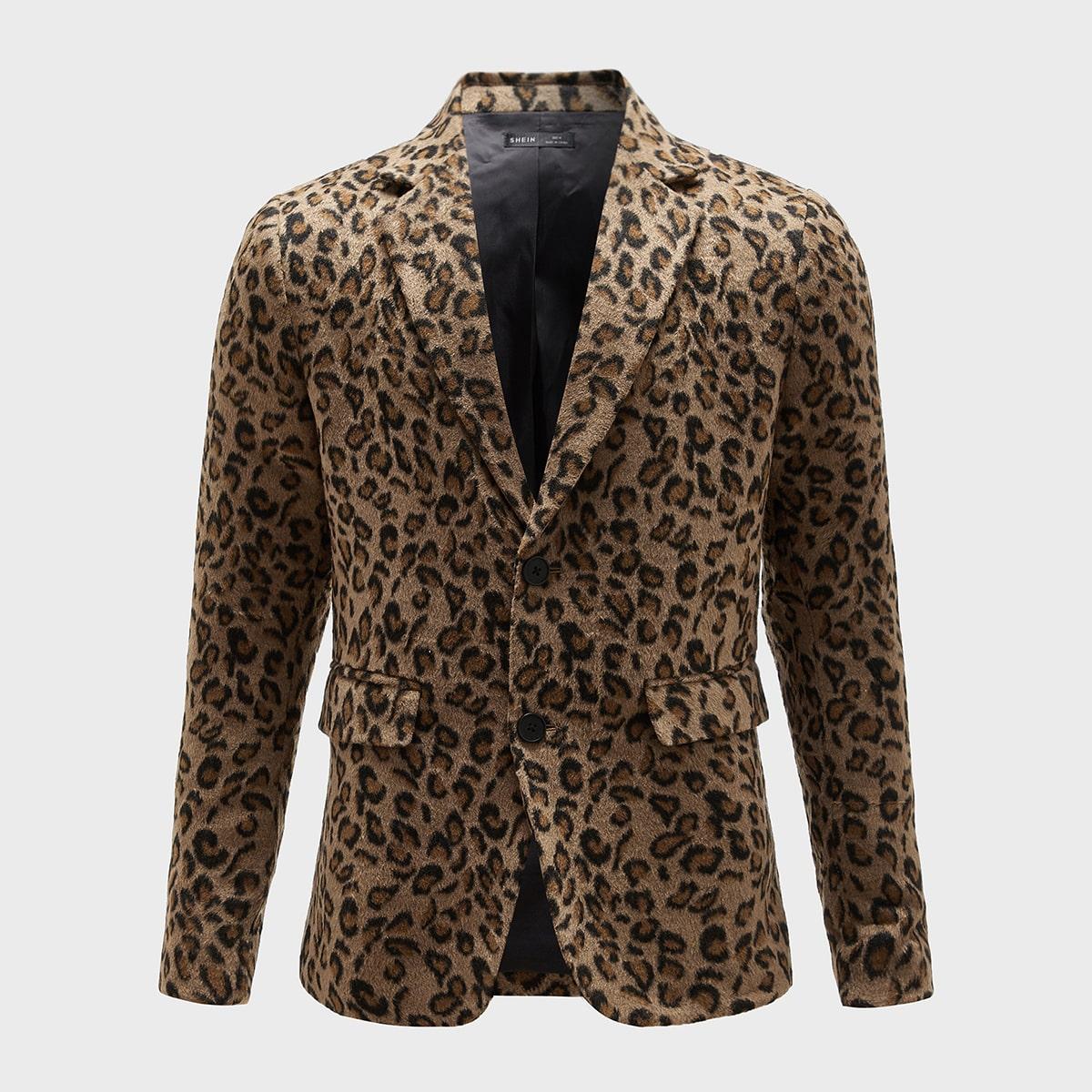 Пуговица леопард повседневный мужские блейзеры