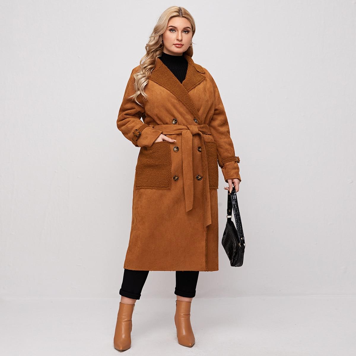 с поясом Одноцветный Повседневный Плюс размеры пальто